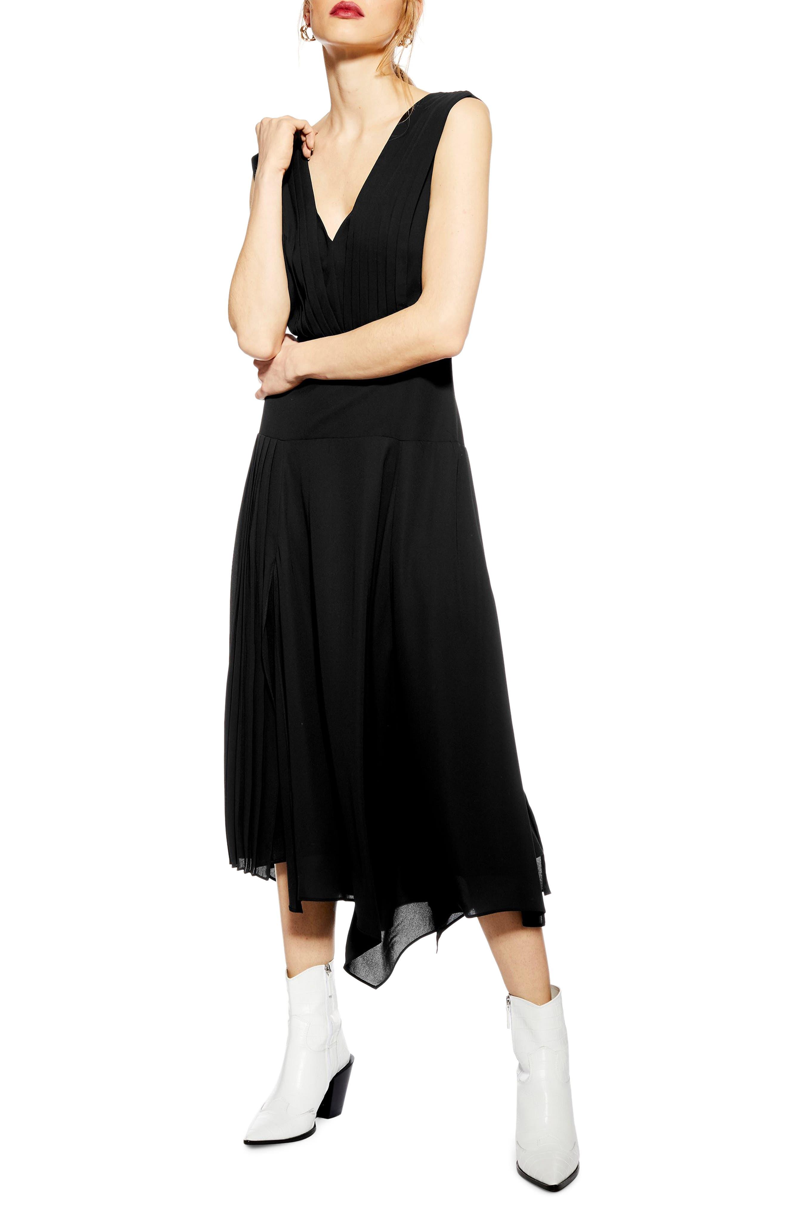 TOPSHOP, Pleated Pinafore Midi Dress, Main thumbnail 1, color, BLACK