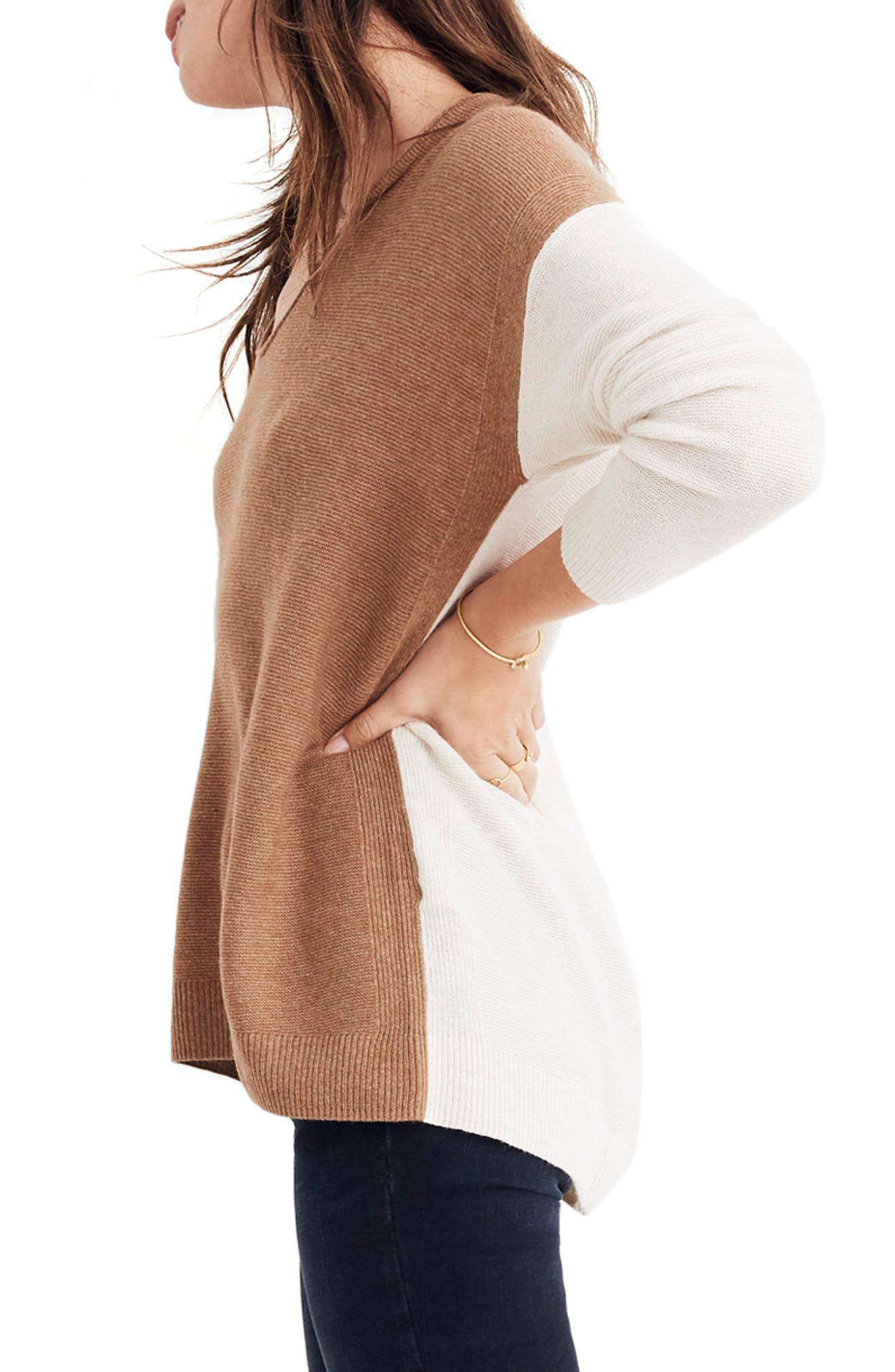 MADEWELL, Kimball Colorblock Sweater, Alternate thumbnail 4, color, 021