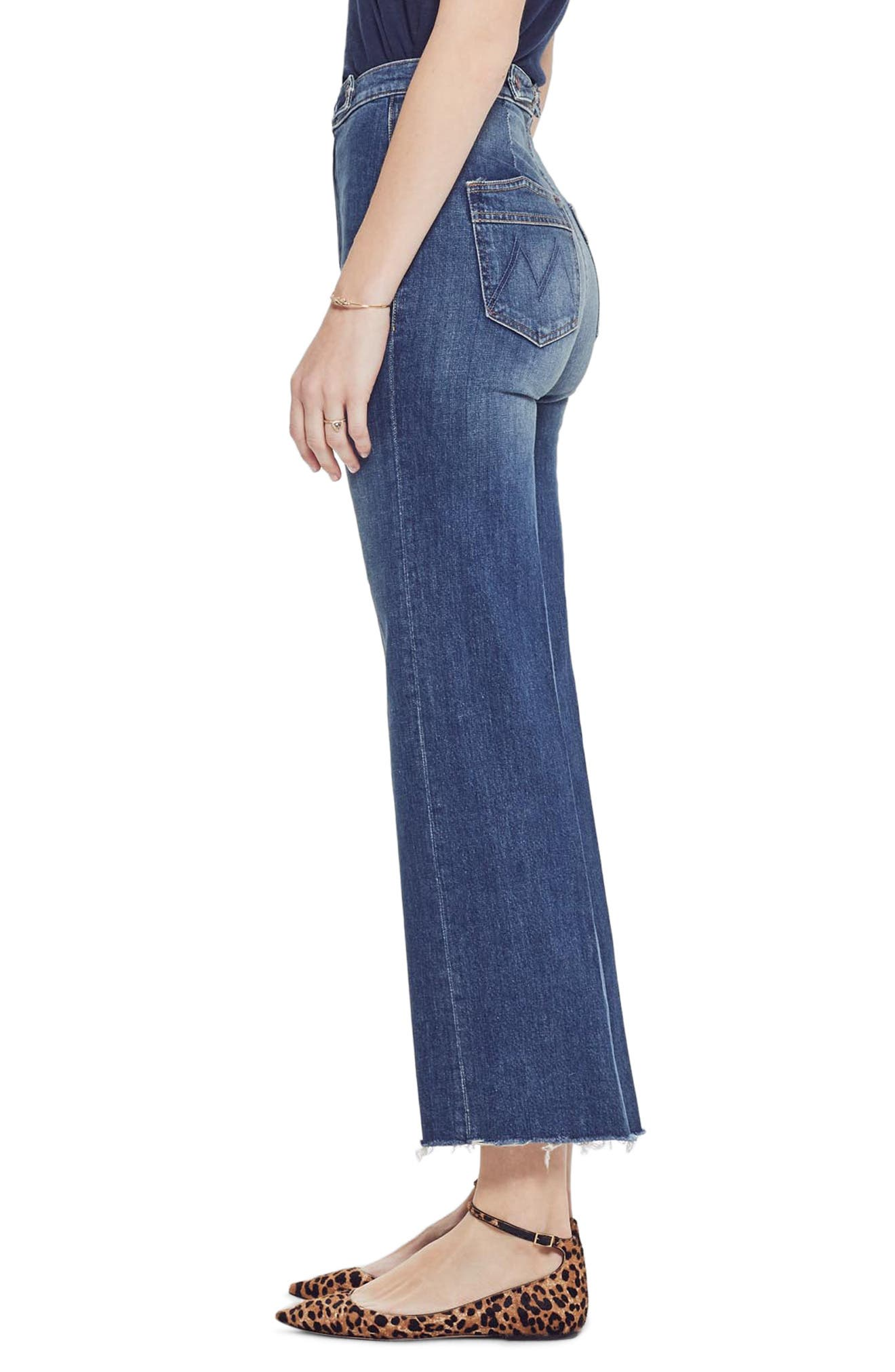 MOTHER, The Loop De Loop Frayed Wide Leg Jeans, Alternate thumbnail 4, color, JUST ONE SIP