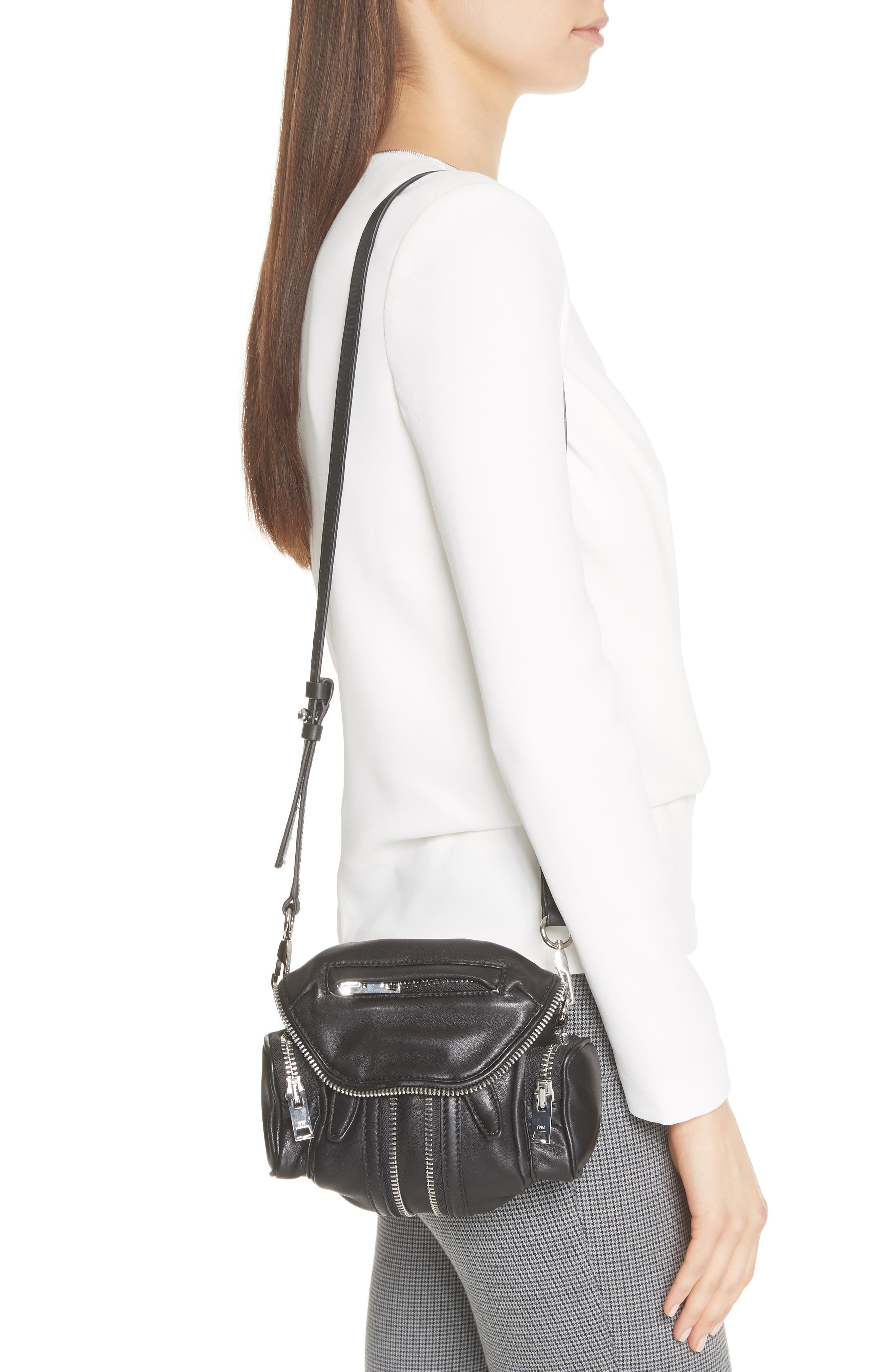 ALEXANDER WANG, Mini Marti Leather Crossbody Bag, Alternate thumbnail 2, color, BLACK