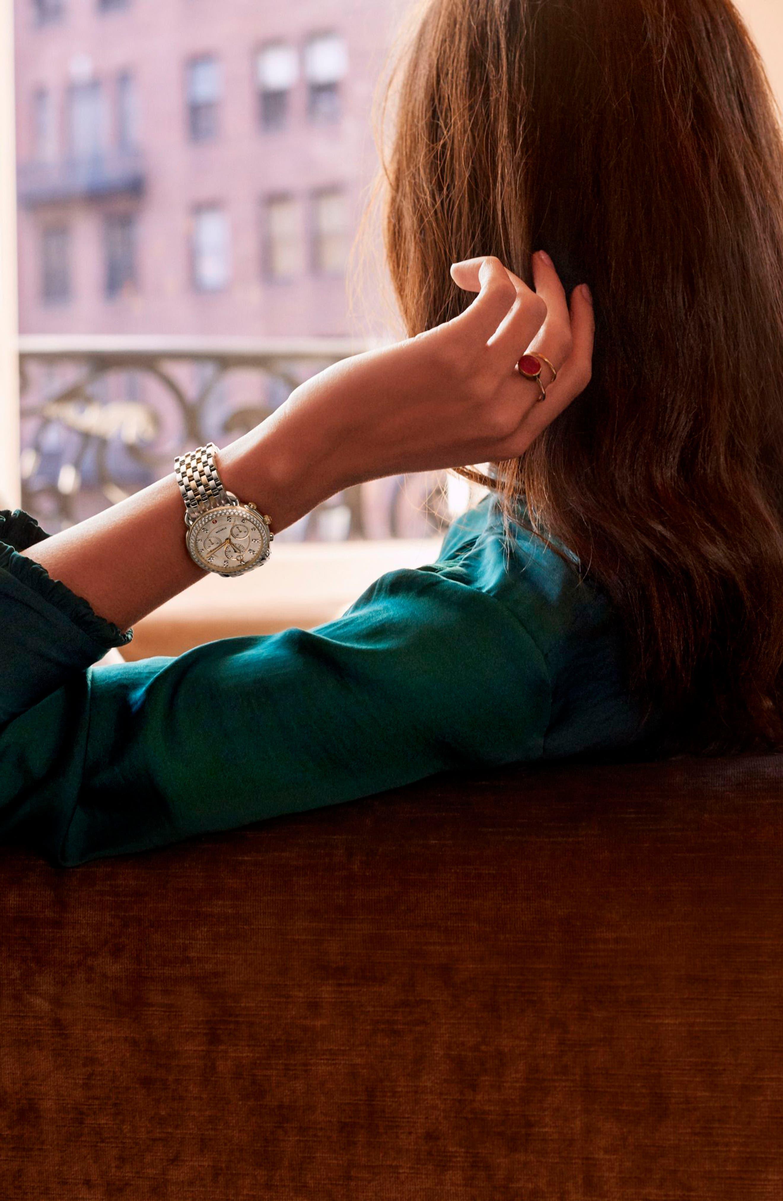 MICHELE, Sidney Chrono Diamond Diamond Dial Watch Case, 38mm, Alternate thumbnail 5, color, SILVER/ MOP/ GOLD
