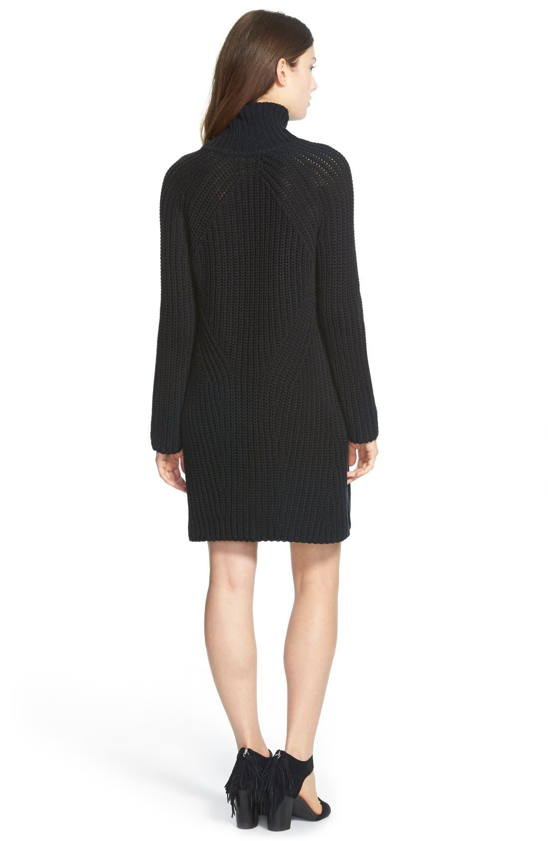 TREASURE & BOND, Treasure&Bond Turtleneck Sweater Dress, Alternate thumbnail 3, color, 001