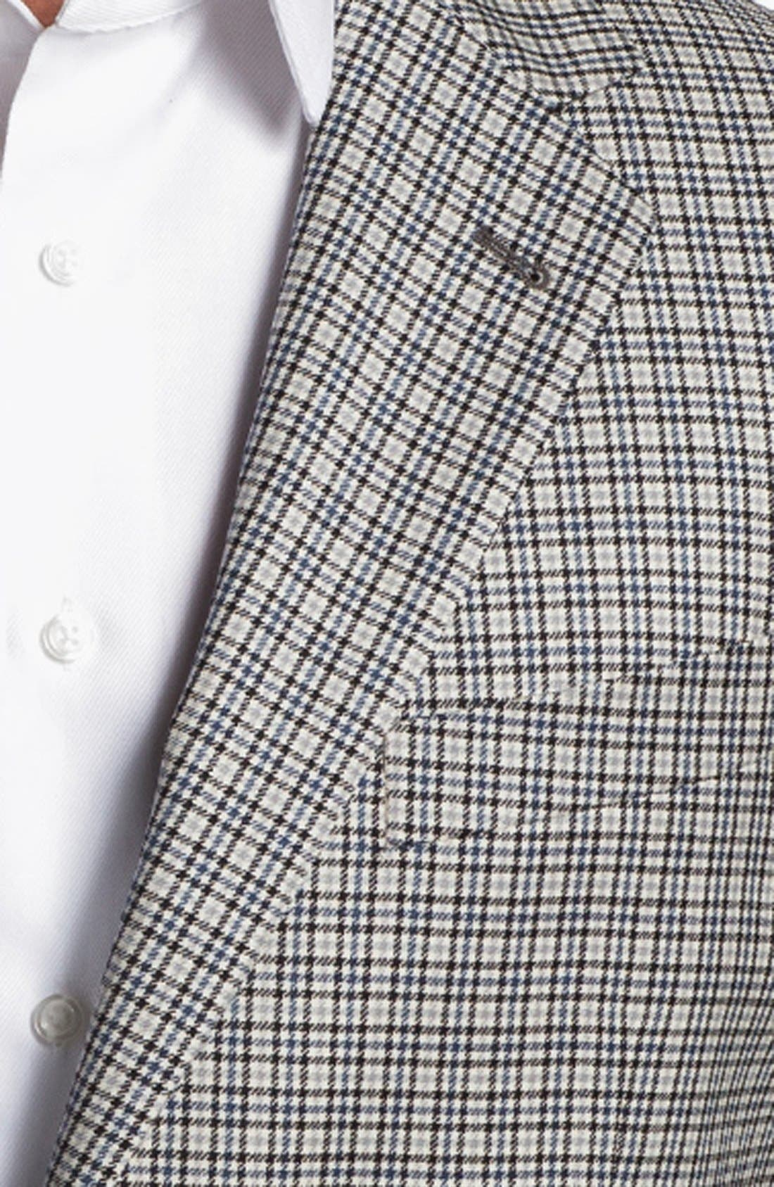 JOSEPH ABBOUD, 'Signature Silver' Check Wool & Silk Sportcoat, Alternate thumbnail 4, color, 400