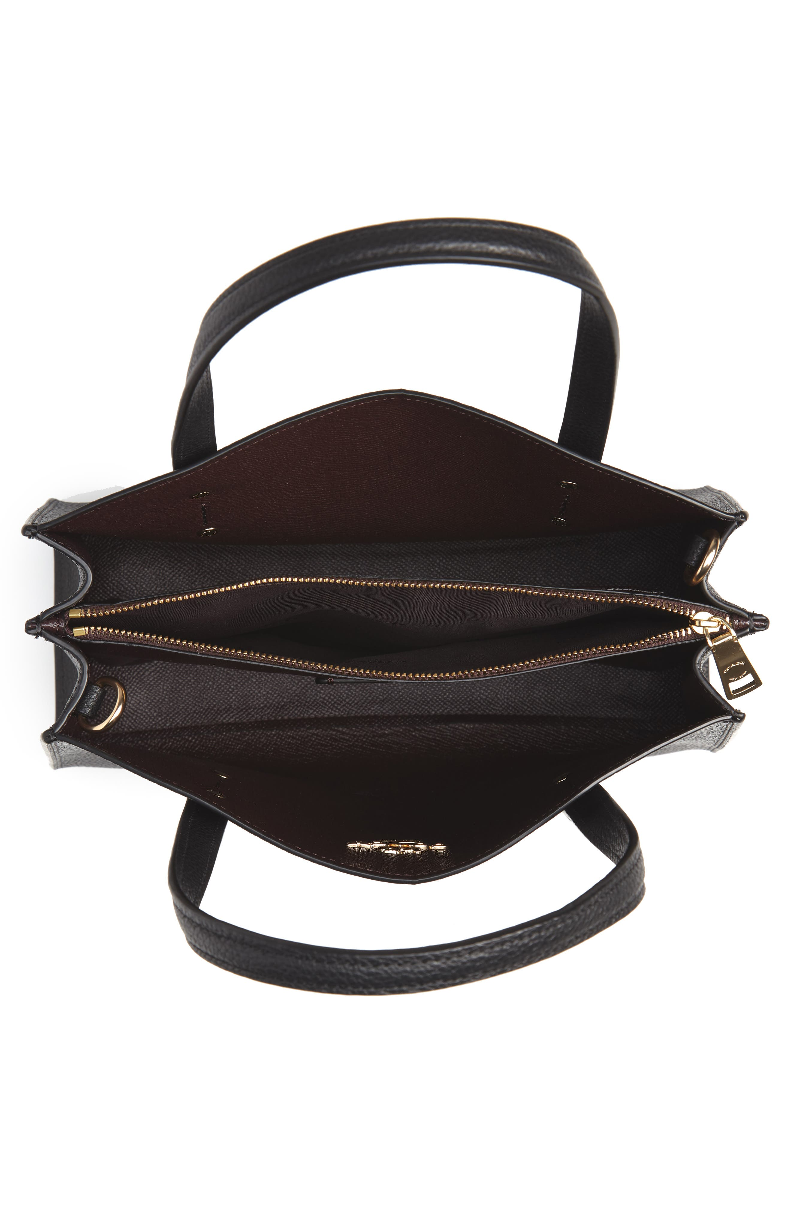 COACH, Charlie Leather Tote, Alternate thumbnail 4, color, BLACK