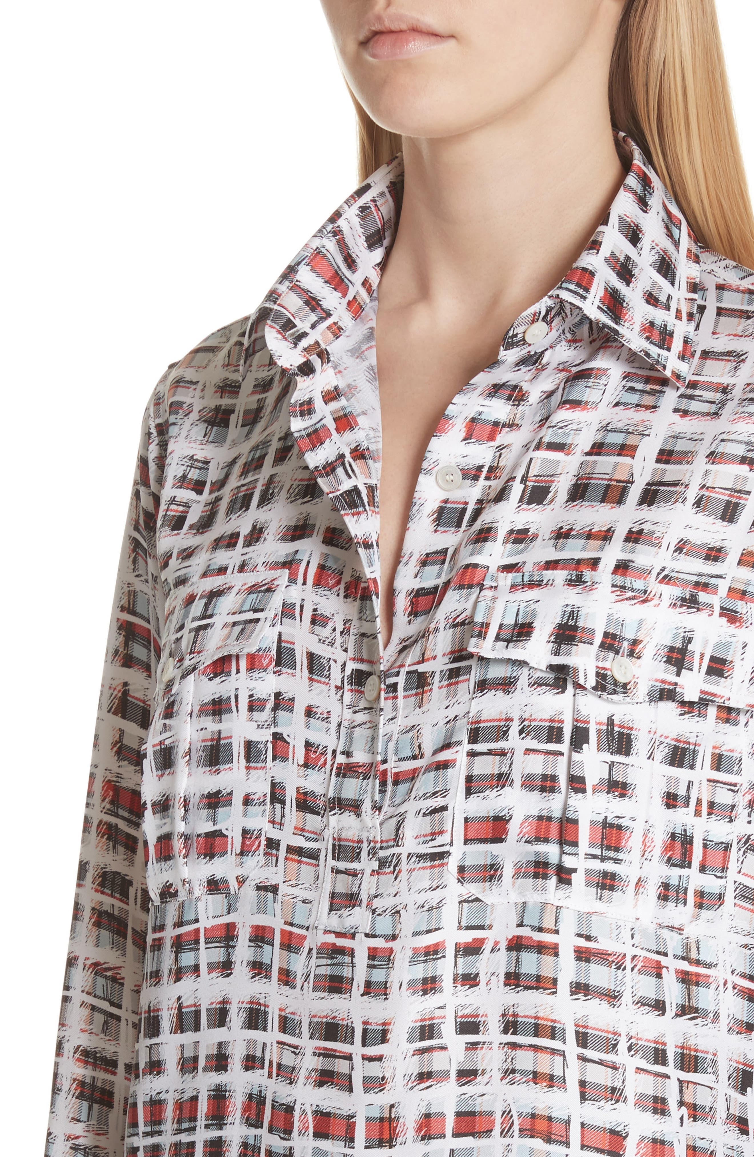 BURBERRY, Sirena Scribble Check Silk Shirt, Alternate thumbnail 4, color, 612