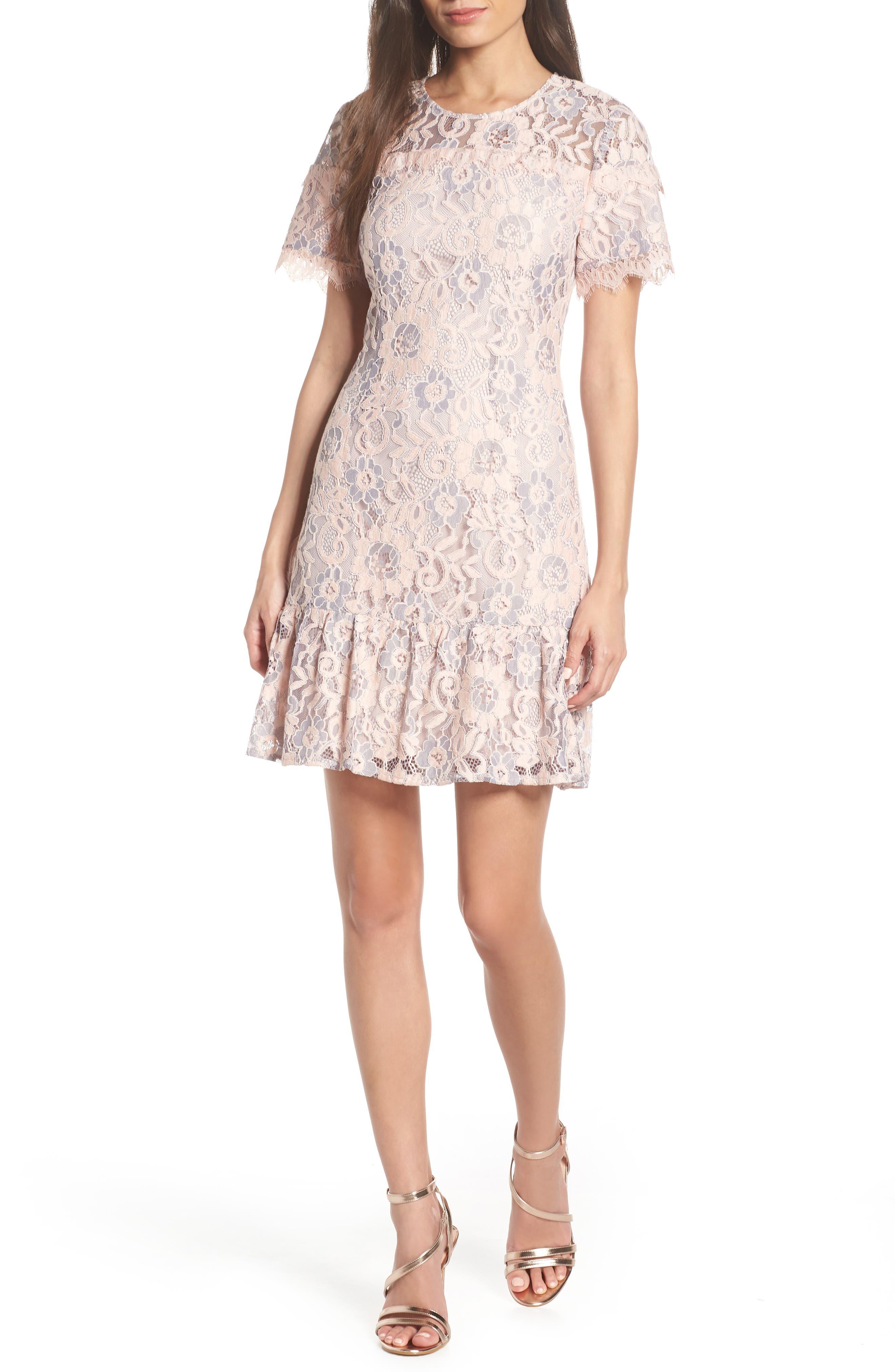 CHARLES HENRY Lace Ruffle Hem Minidress, Main, color, BLUSH LACE