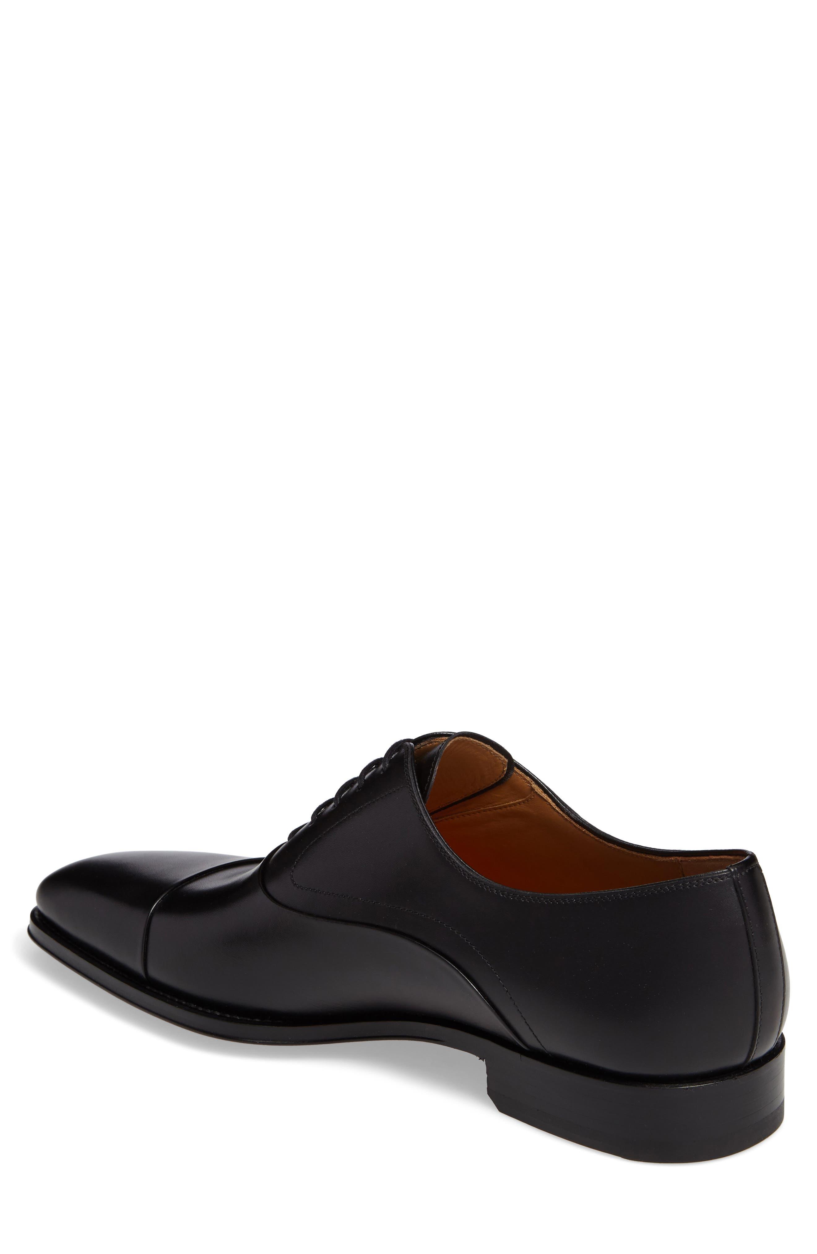MAGNANNI, Saffron Cap Toe Oxford, Alternate thumbnail 2, color, BLACK LEATHER