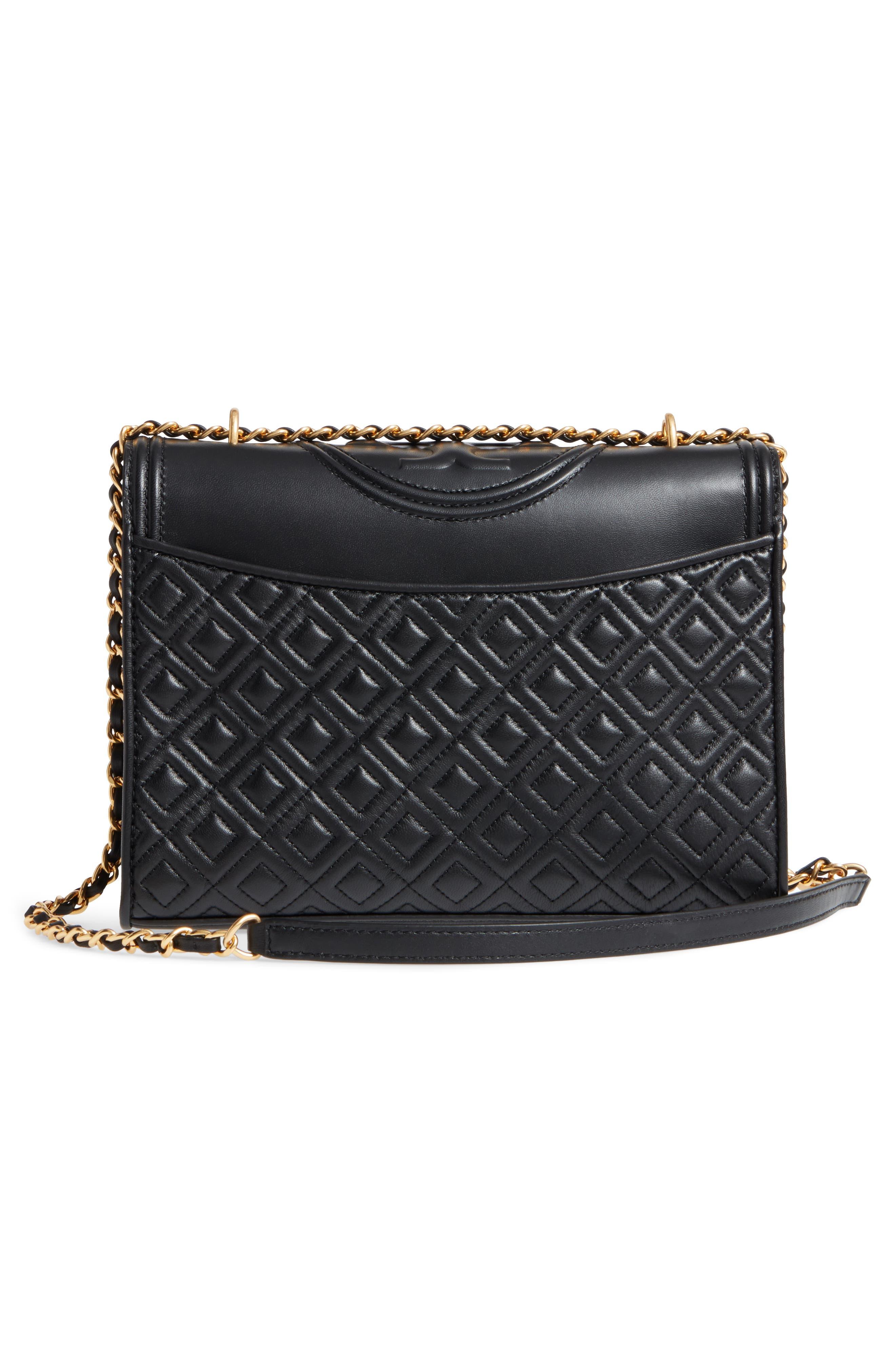 TORY BURCH, Fleming Leather Convertible Shoulder Bag, Alternate thumbnail 4, color, BLACK