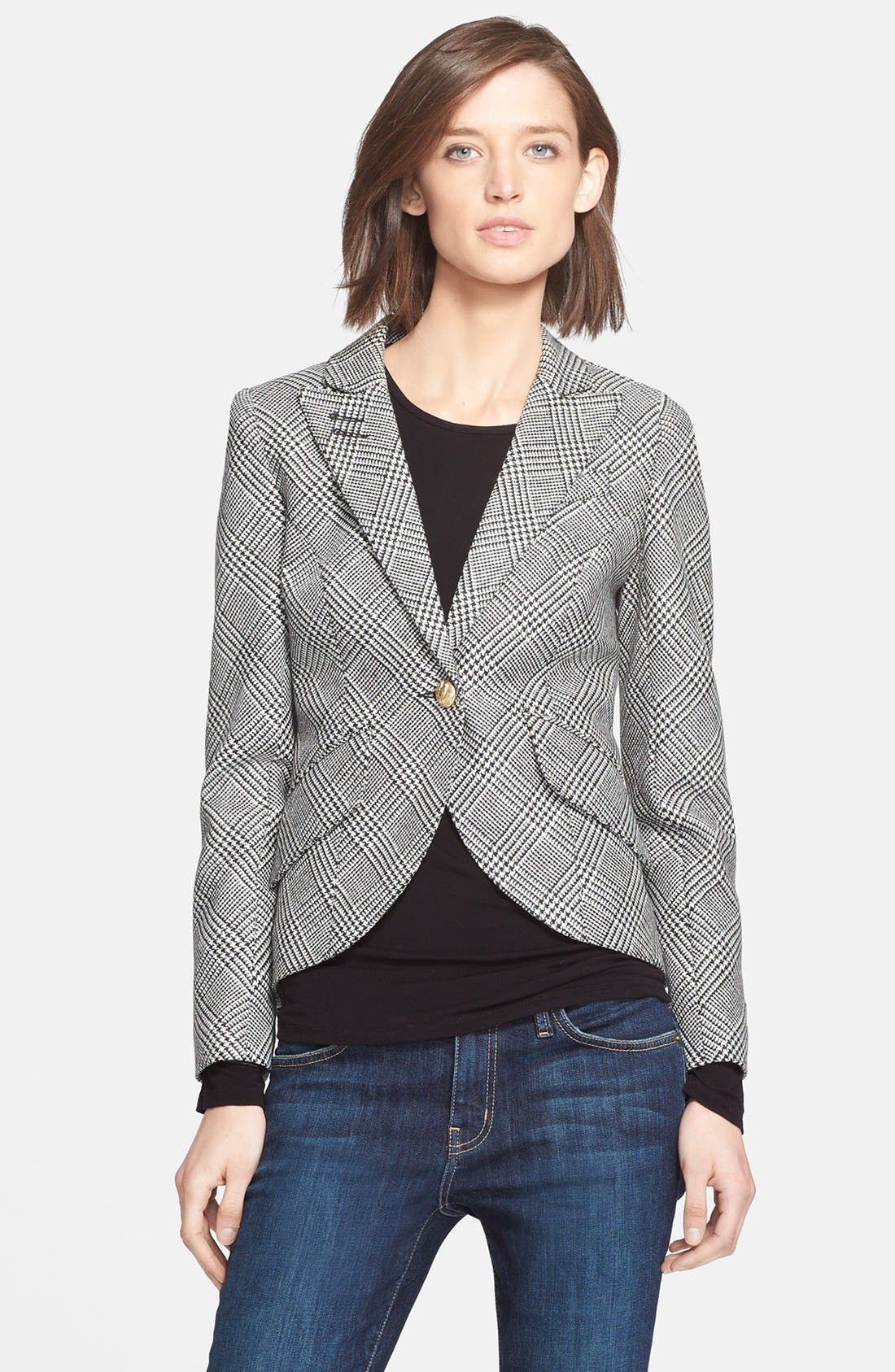 SMYTHE, Leather Elbow Patch Houndstooth Jacket, Alternate thumbnail 5, color, 020