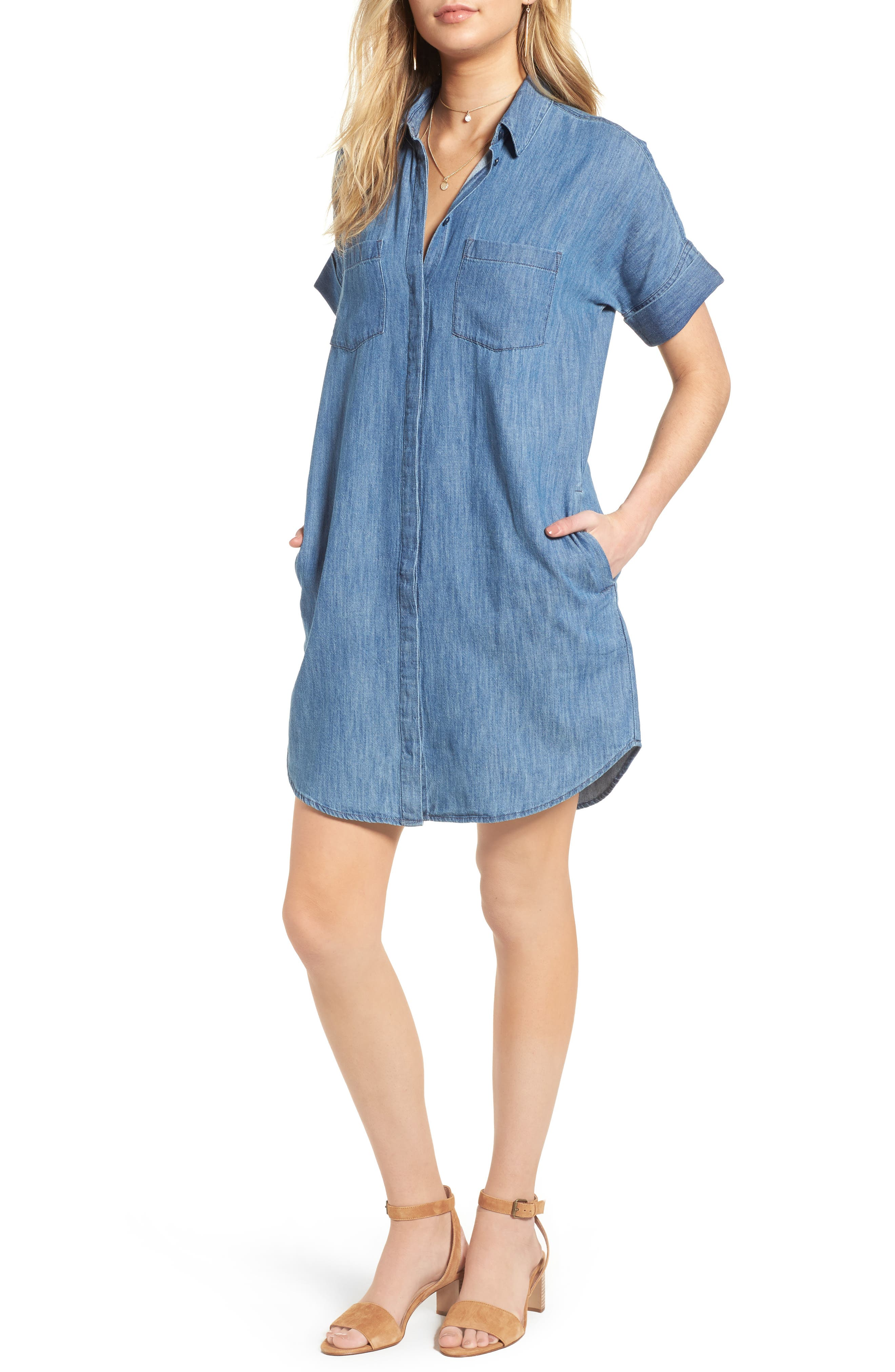 MADEWELL, Courier Denim Shirtdress, Main thumbnail 1, color, 400