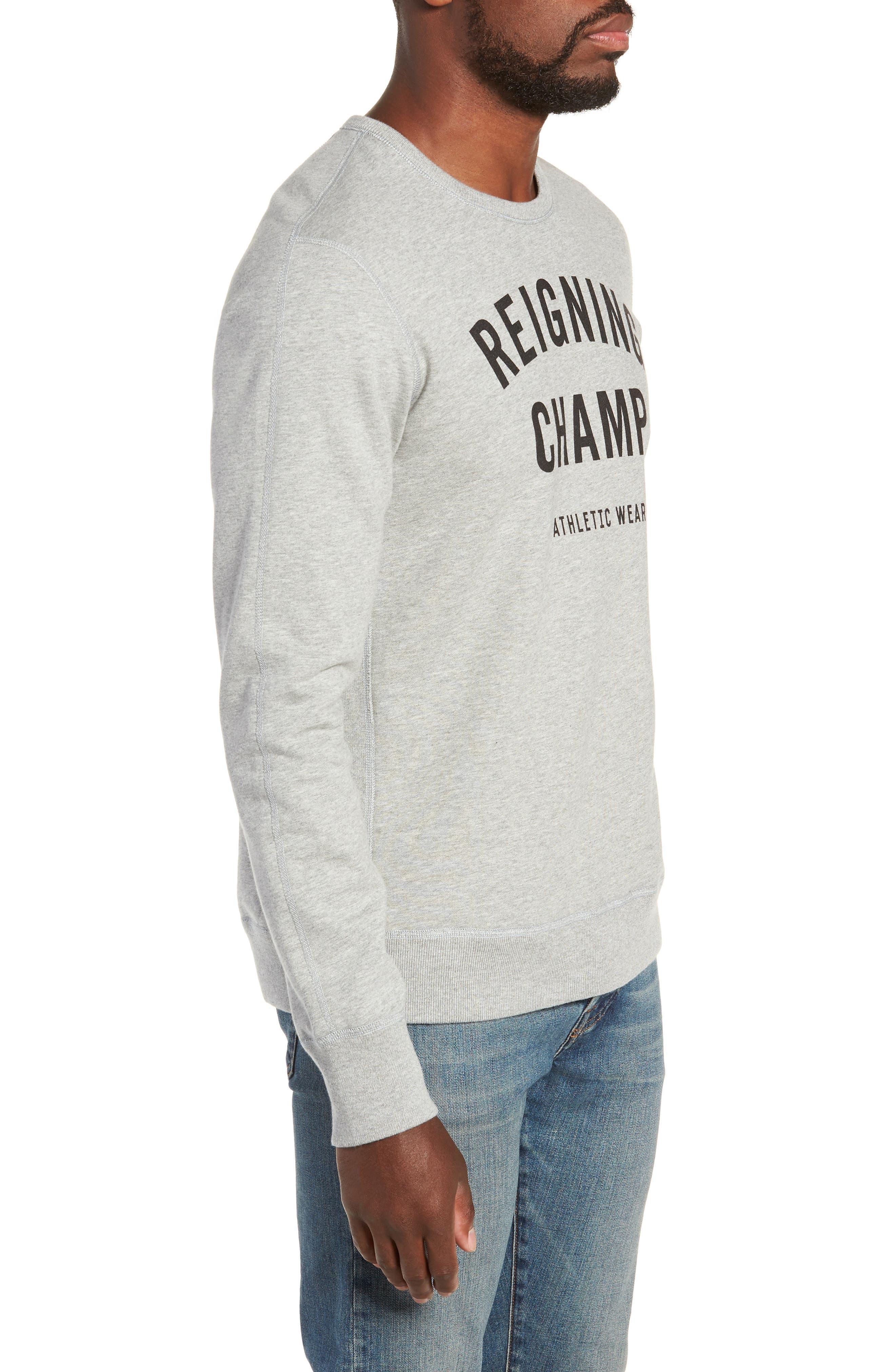 REIGNING CHAMP, Gym Logo Sweatshirt, Alternate thumbnail 3, color, HEATHER GREY/ BLACK