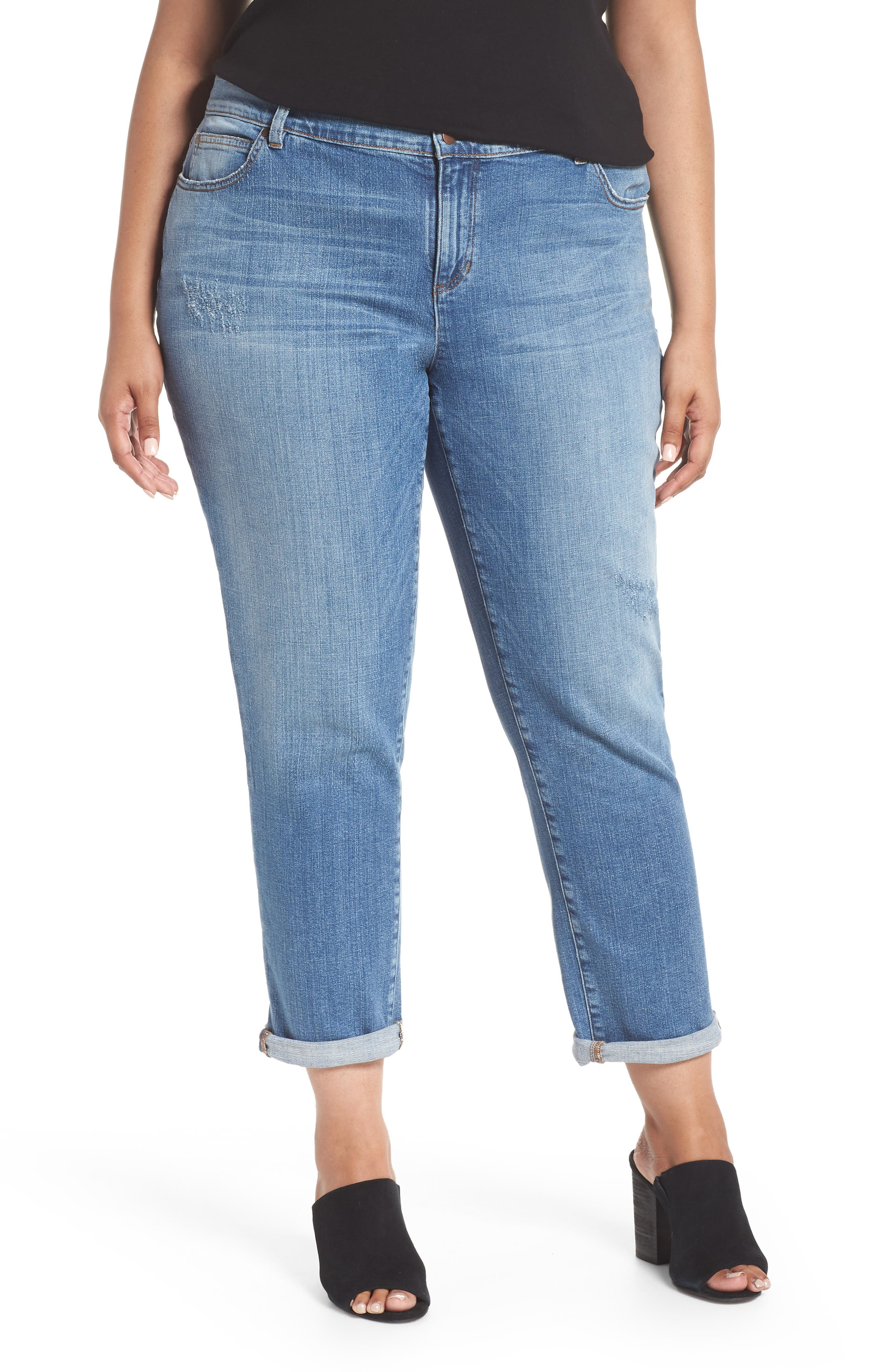 EILEEN FISHER, Stretch Organic Cotton Boyfriend Jeans, Main thumbnail 1, color, ABRADED SKY BLUE