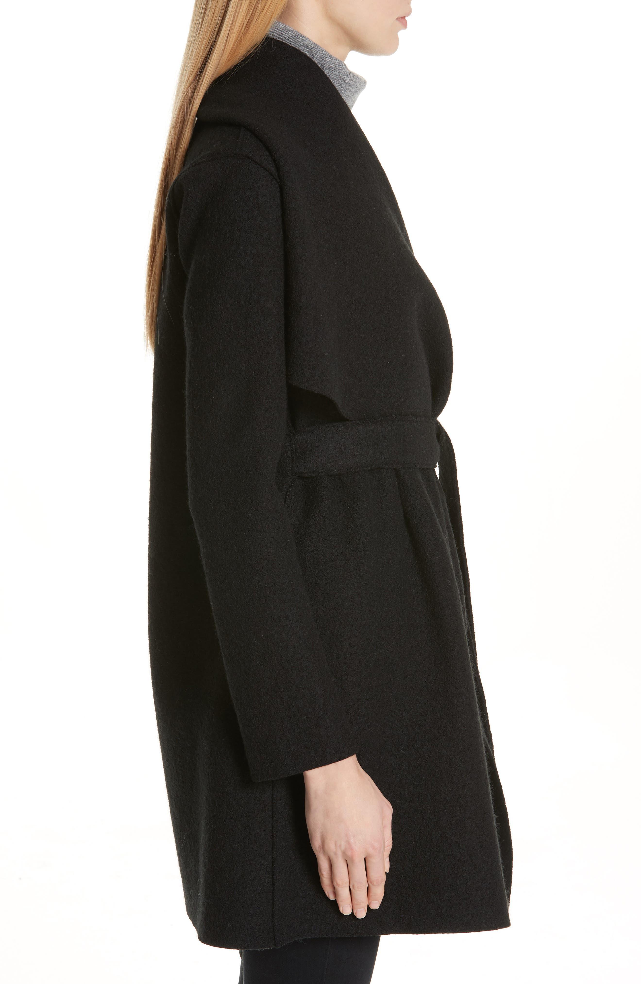 HARRIS WHARF LONDON, Belted Wool Coat, Alternate thumbnail 4, color, BLACK
