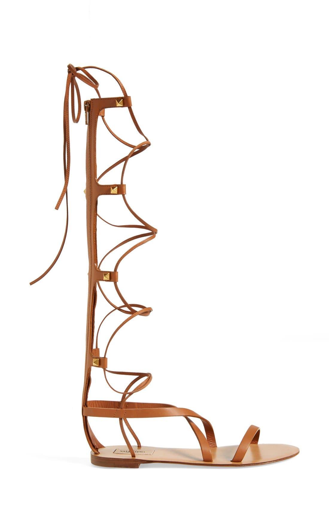 VALENTINO GARAVANI, 'Rockstud' Tall Gladiator Sandal, Alternate thumbnail 3, color, 200