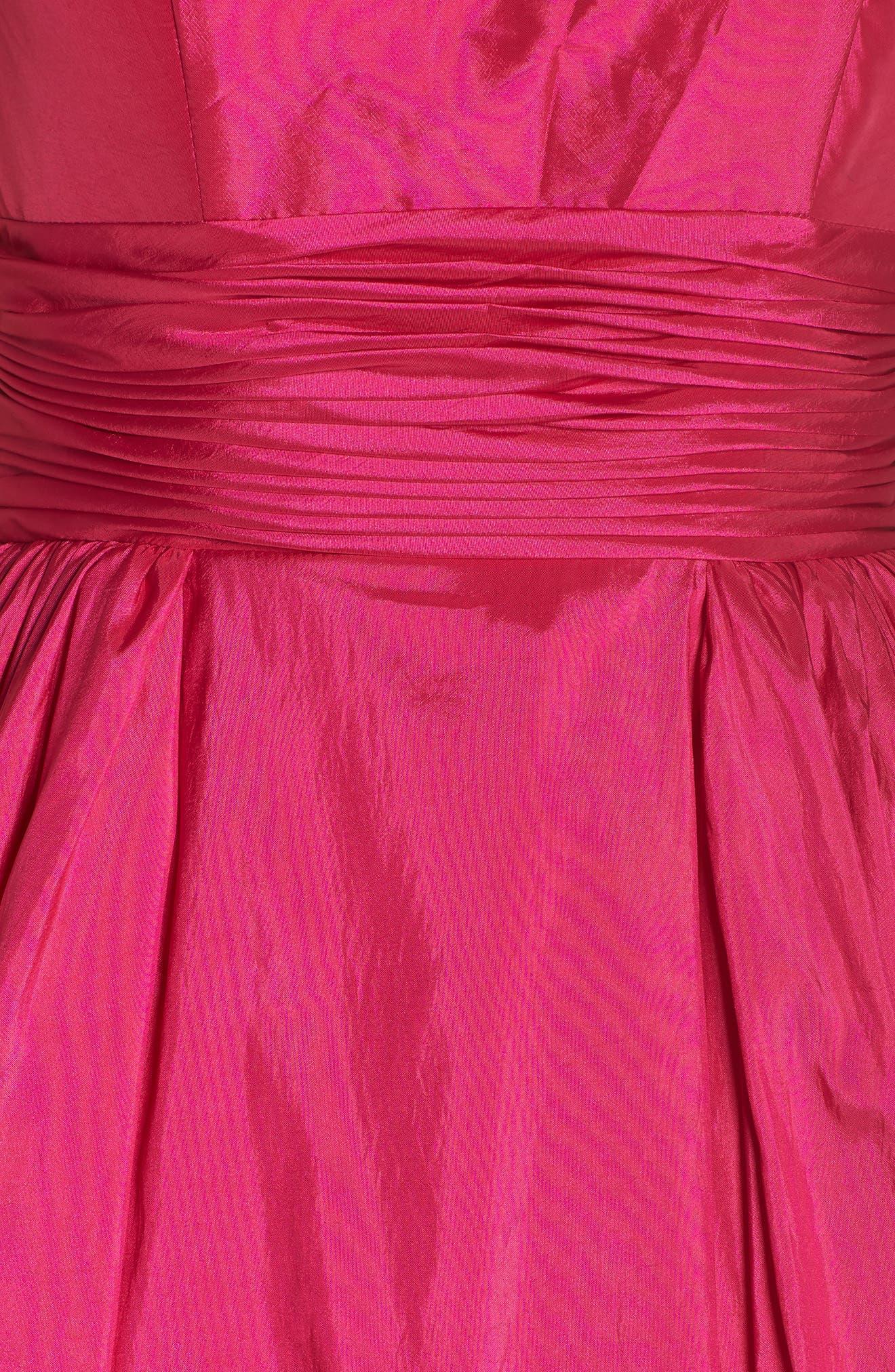 MAC DUGGAL, V-Neck Satin Evening Dress, Alternate thumbnail 6, color, MAGENTA
