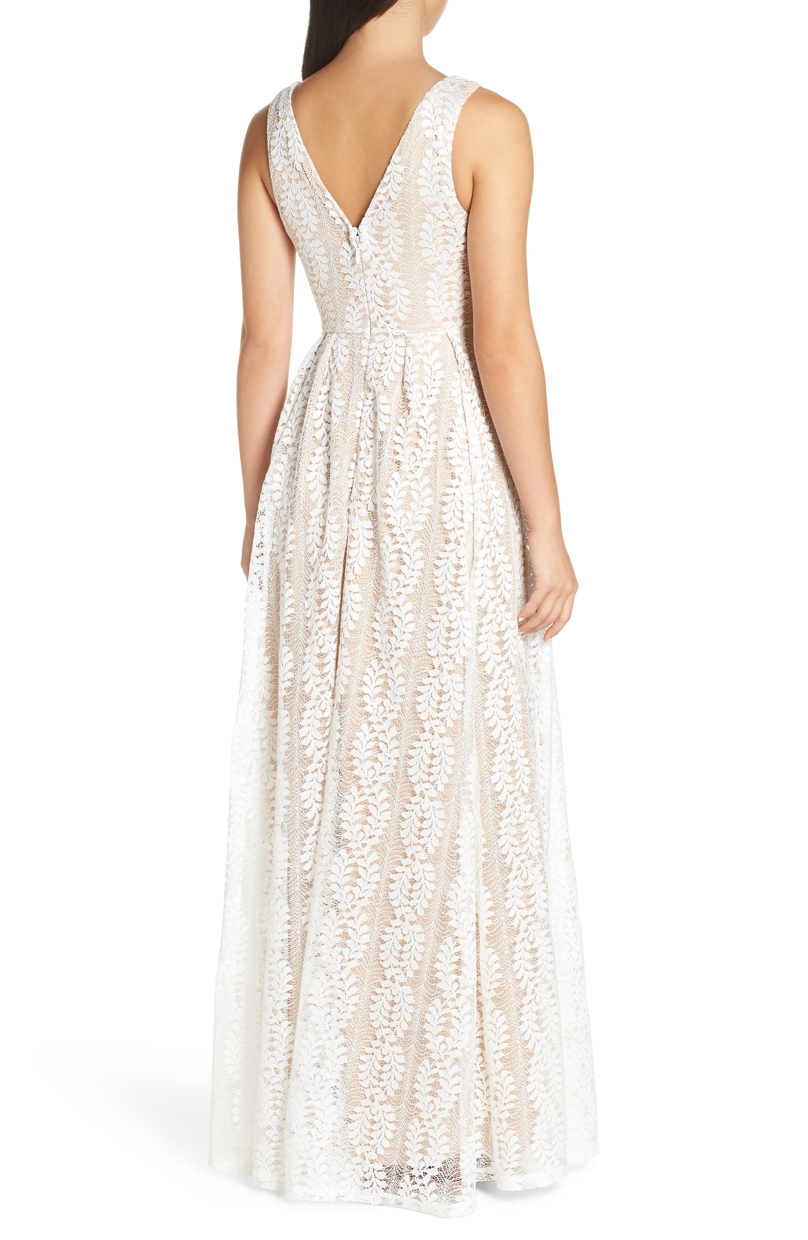 LULUS, Eliana Lace V-Neck Gown, Alternate thumbnail 2, color, WHITE/ NUDE