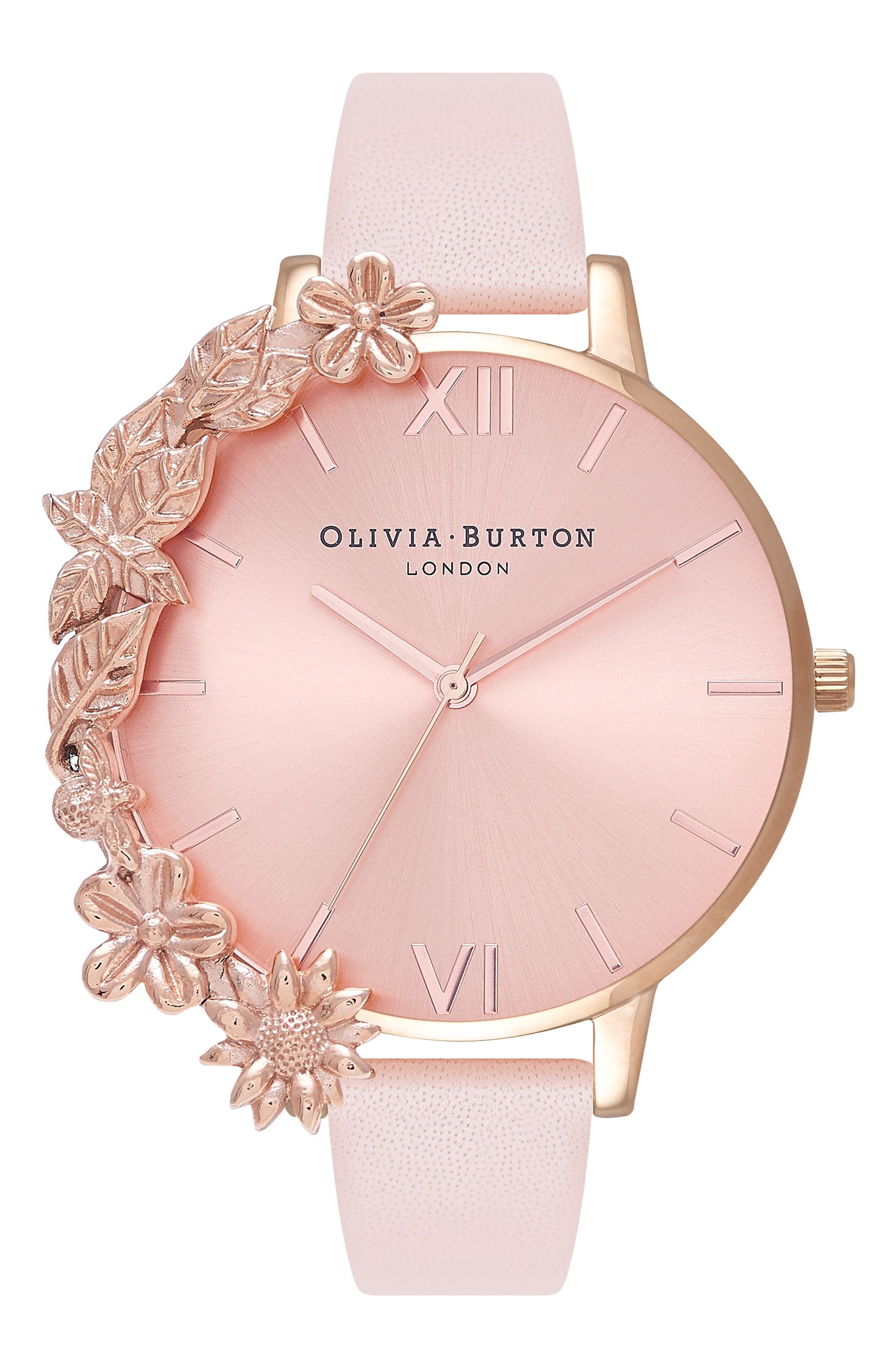 OLIVIA BURTON, Case Cuff Leather Strap Watch, 38mm, Main thumbnail 1, color, ROSE GOLD