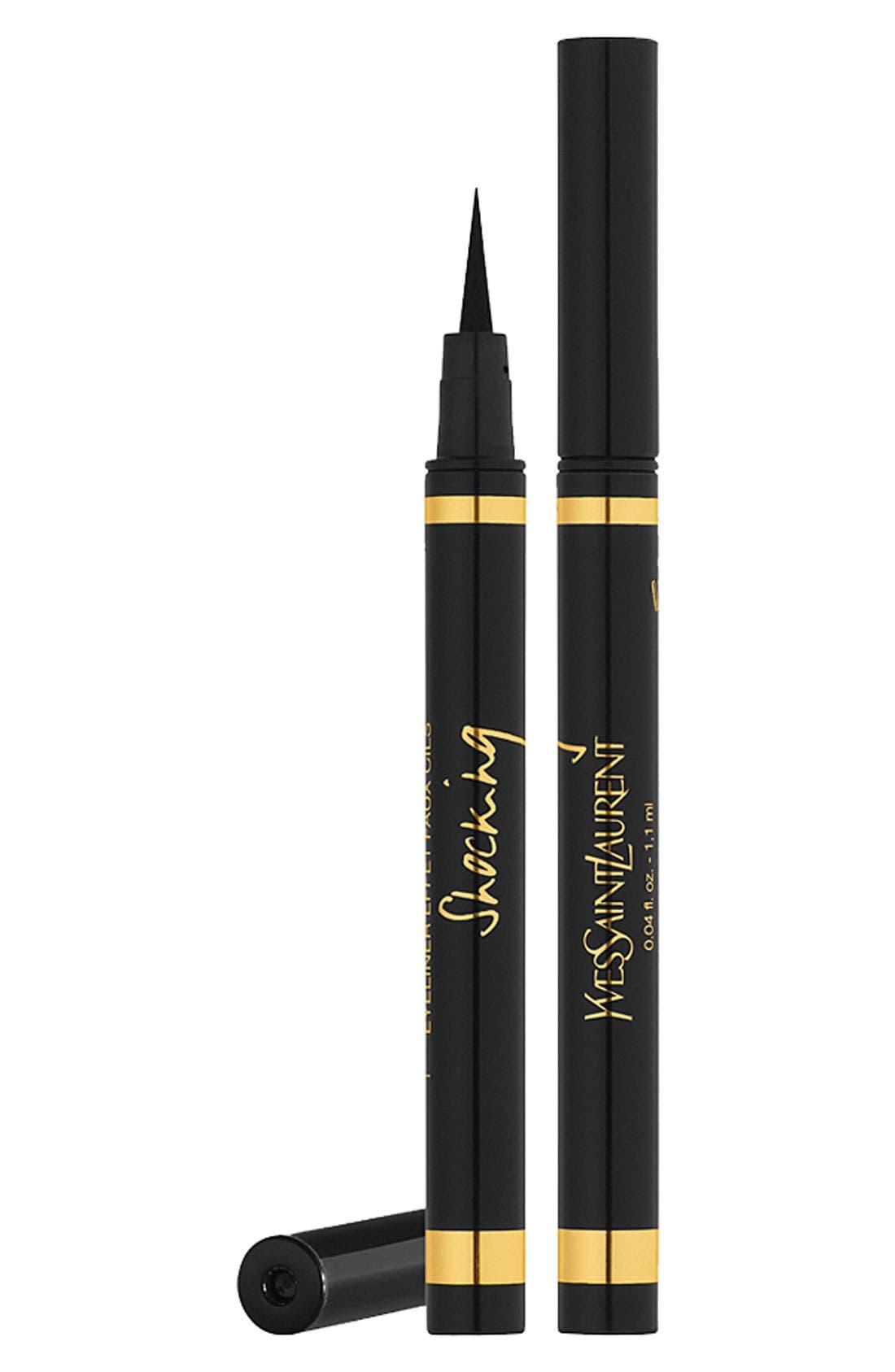 YVES SAINT LAURENT, Eyeliner Effet Faux Cils Bold Felt Tip Eyeliner Pen, Main thumbnail 1, color, NO. 01 BLACK