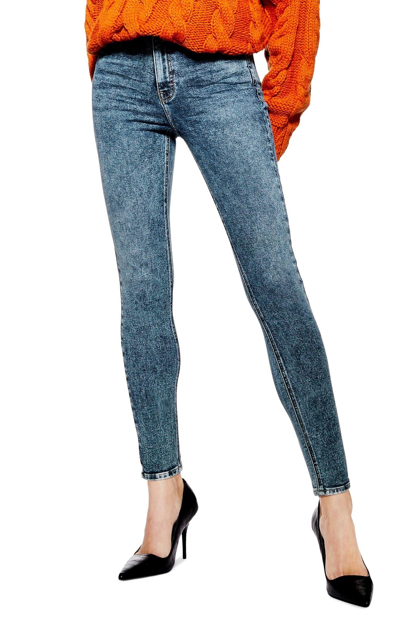 TOPSHOP, Jamie Acid Wash Skinny Jeans, Main thumbnail 1, color, INDIGO