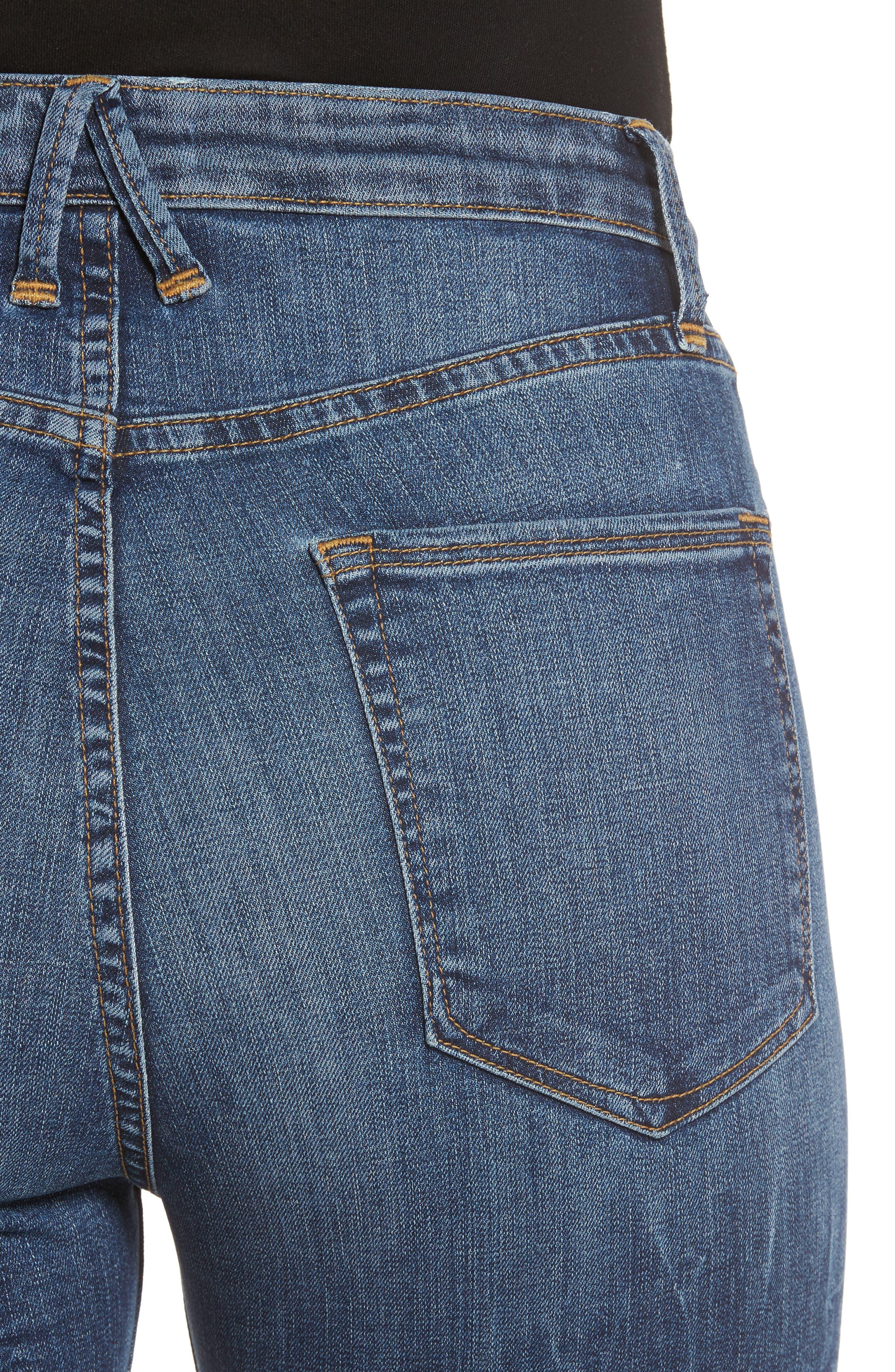 GOOD AMERICAN, High Waist Denim Bermuda Shorts, Alternate thumbnail 4, color, 402