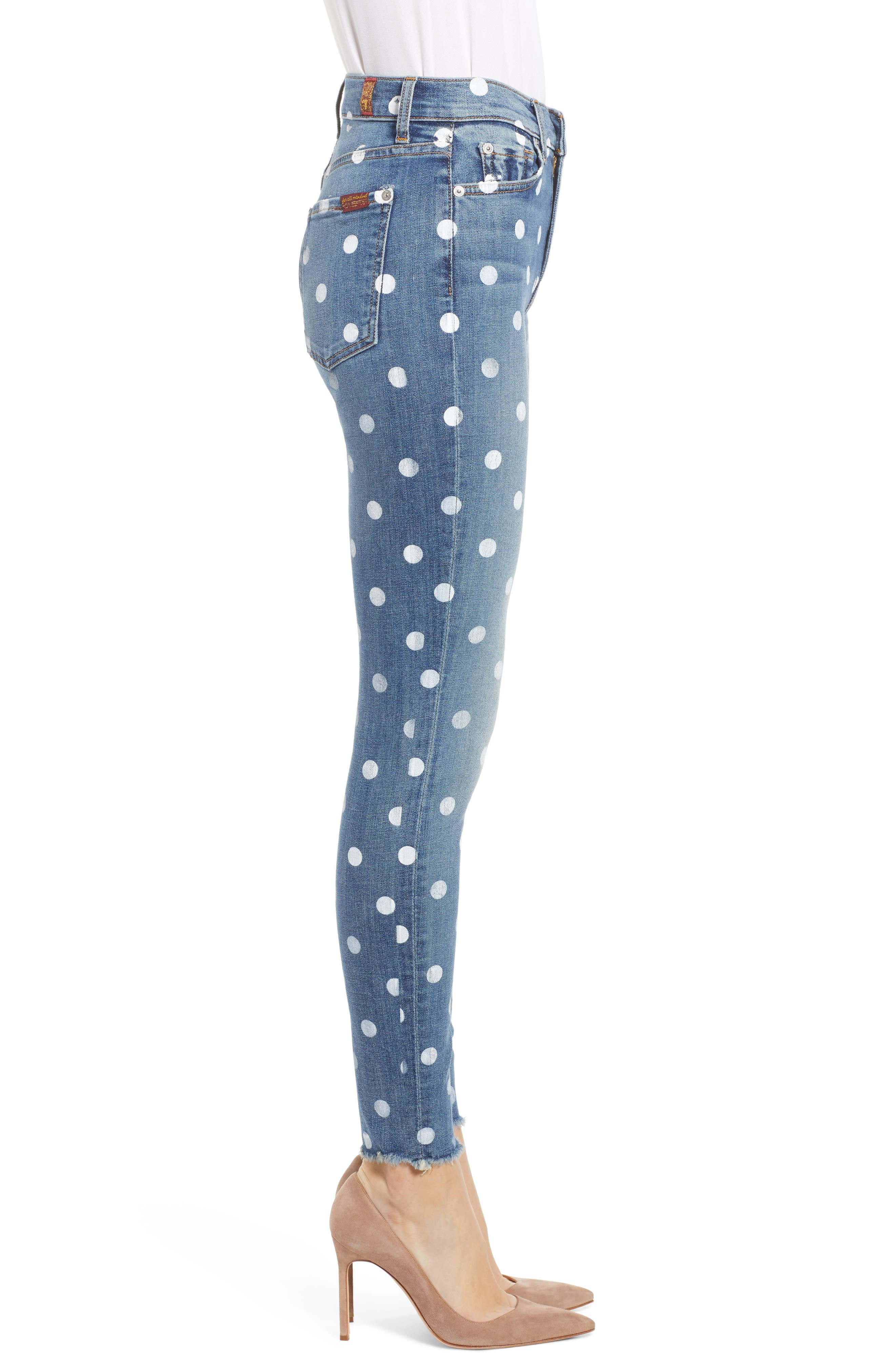 7 FOR ALL MANKIND<SUP>®</SUP>, Polka Dot High Waist Ankle Skinny Jeans, Alternate thumbnail 4, color, RIDGEMONT VINTAGE