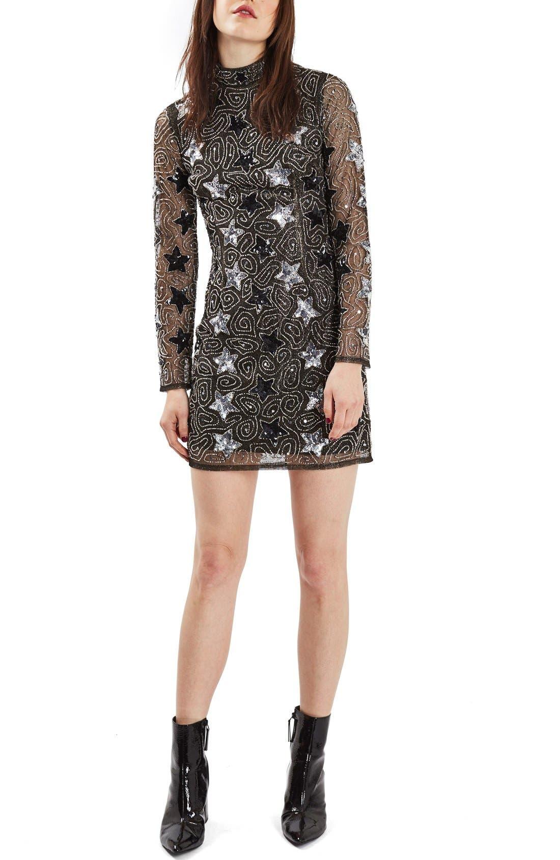 TOPSHOP, Star Embellished Minidress, Main thumbnail 1, color, 040