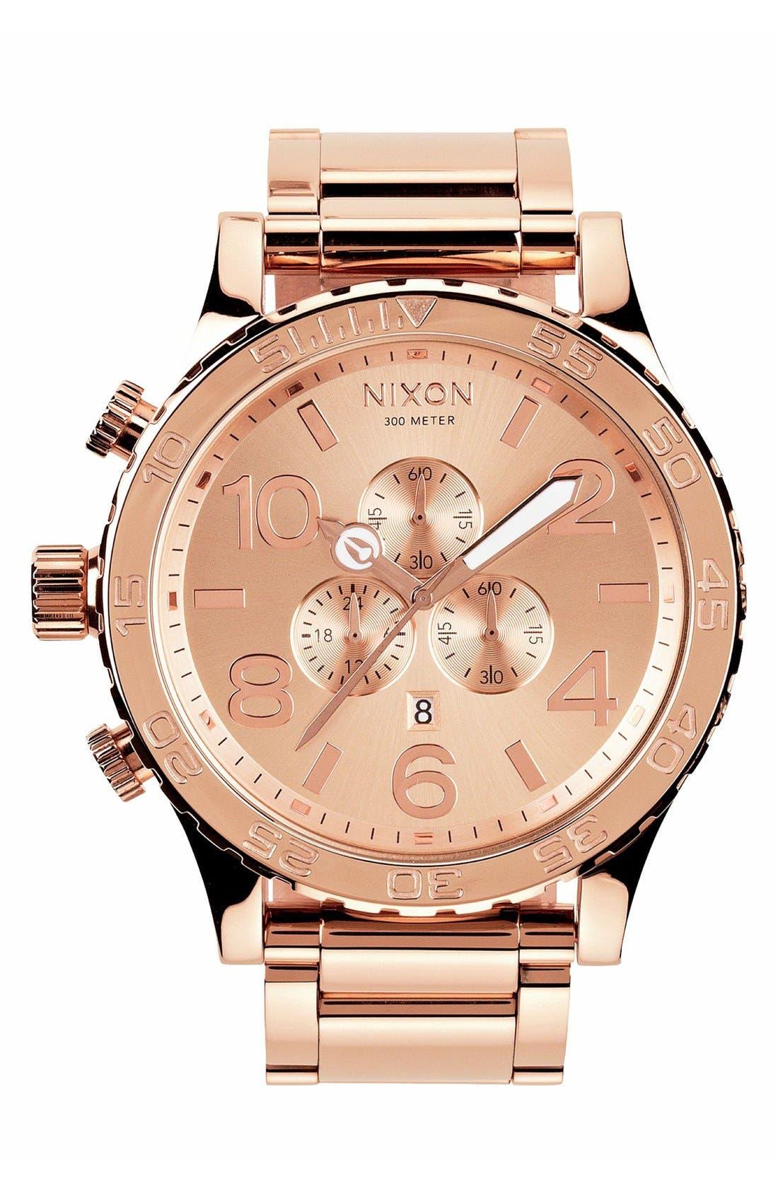 NIXON, 'The 51-30 Chrono' Watch, 51mm, Main thumbnail 1, color, ROSE GOLD