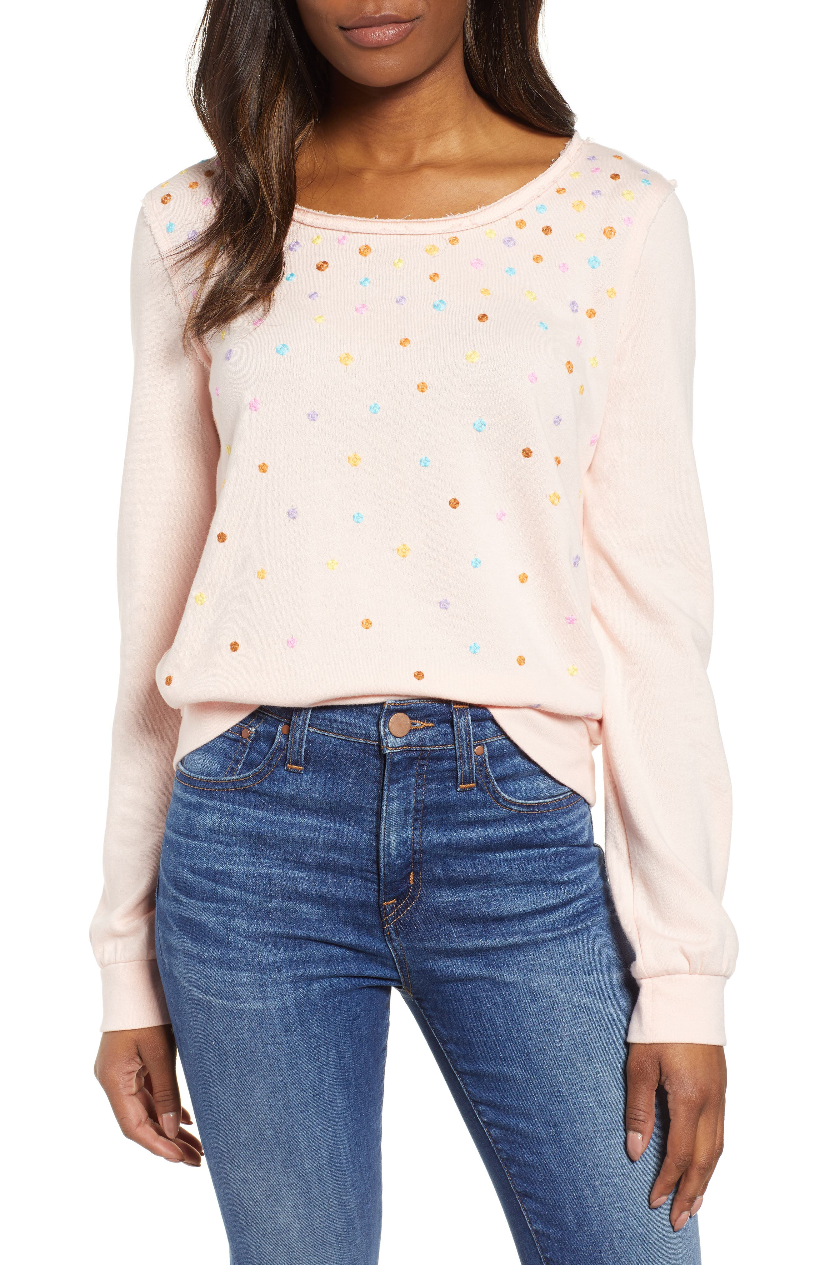 CASLON<SUP>®</SUP>, Embroidered Sweatshirt, Main thumbnail 1, color, PINK C EMBROIDERED