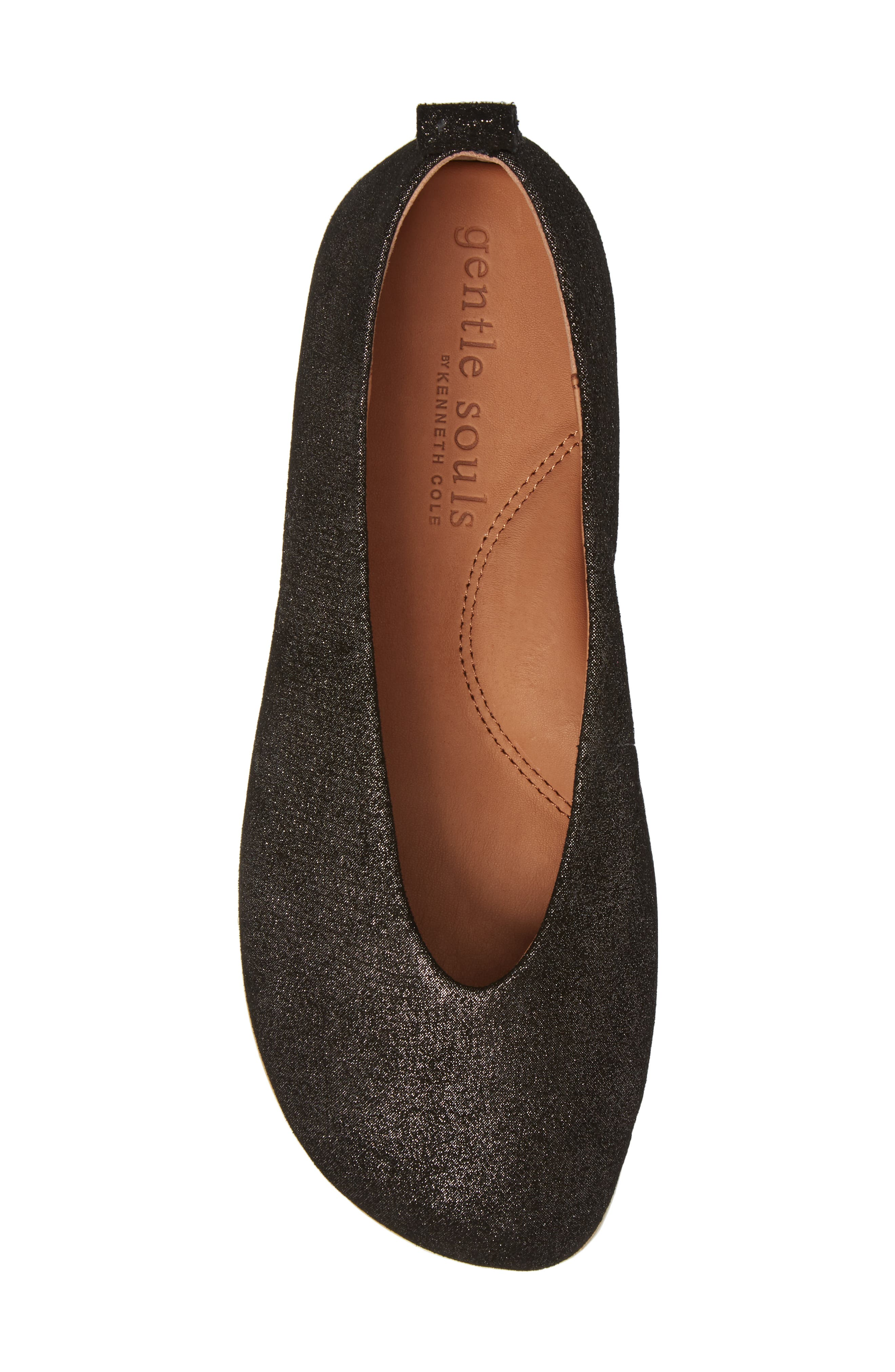 GENTLE SOULS BY KENNETH COLE, Demi Flat, Alternate thumbnail 5, color, BLACK EMBOSSED LEATHER
