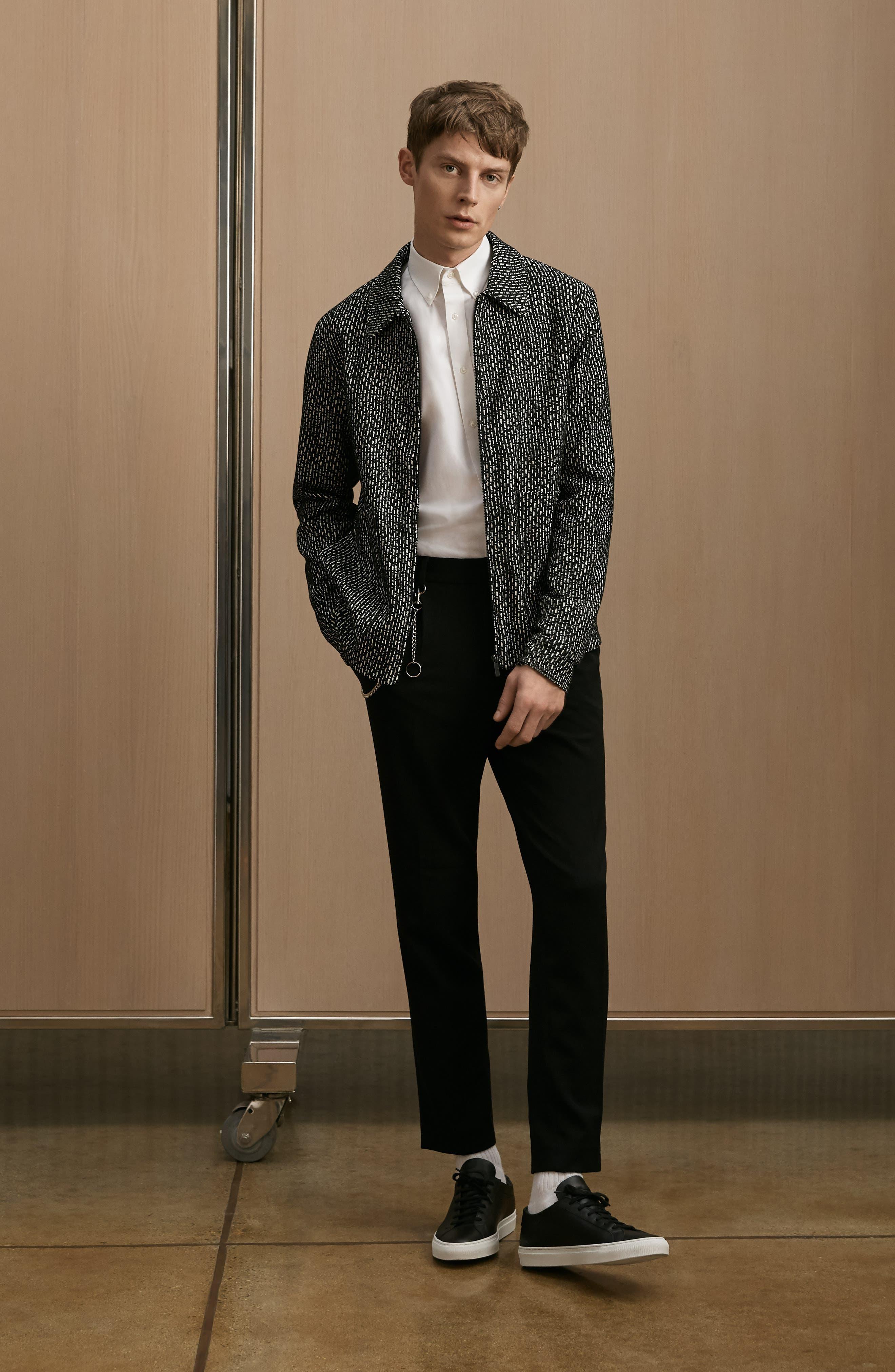 THEORY, 'Sylvain' Trim Fit Long Sleeve Sport Shirt, Alternate thumbnail 8, color, BLACK