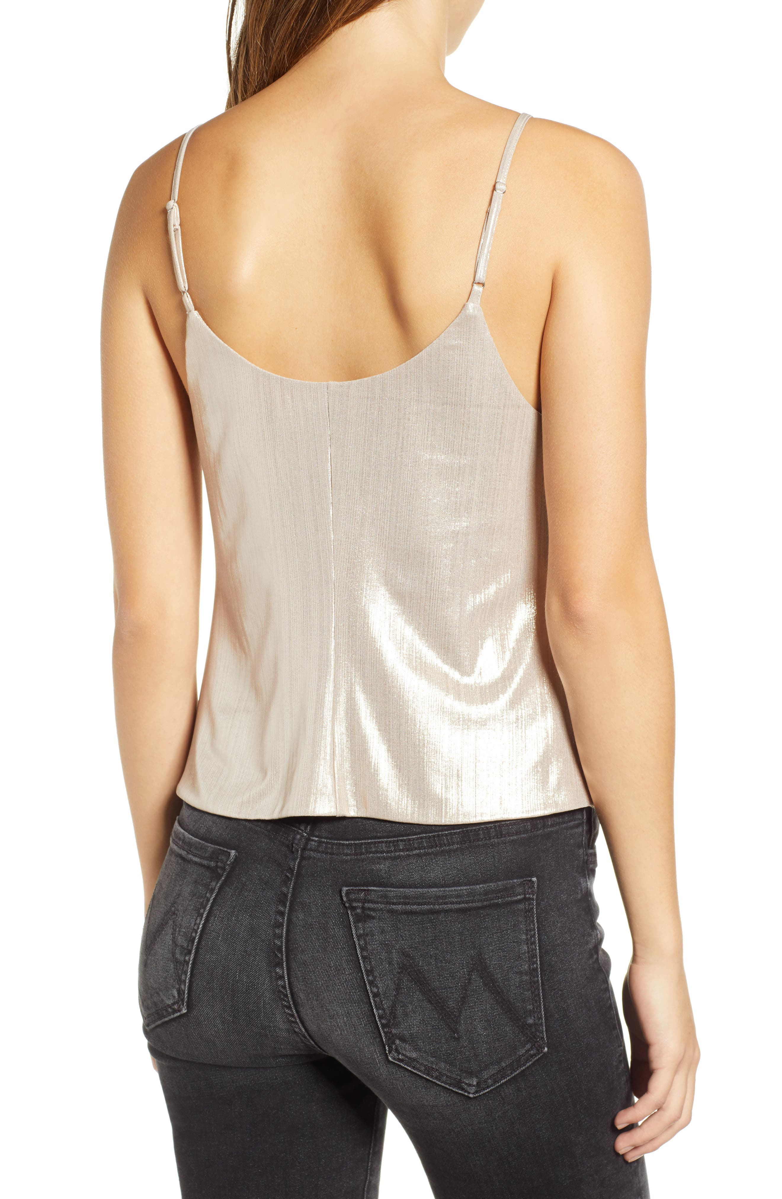 LEITH, Knot Front Metallic Camisole, Alternate thumbnail 2, color, 710