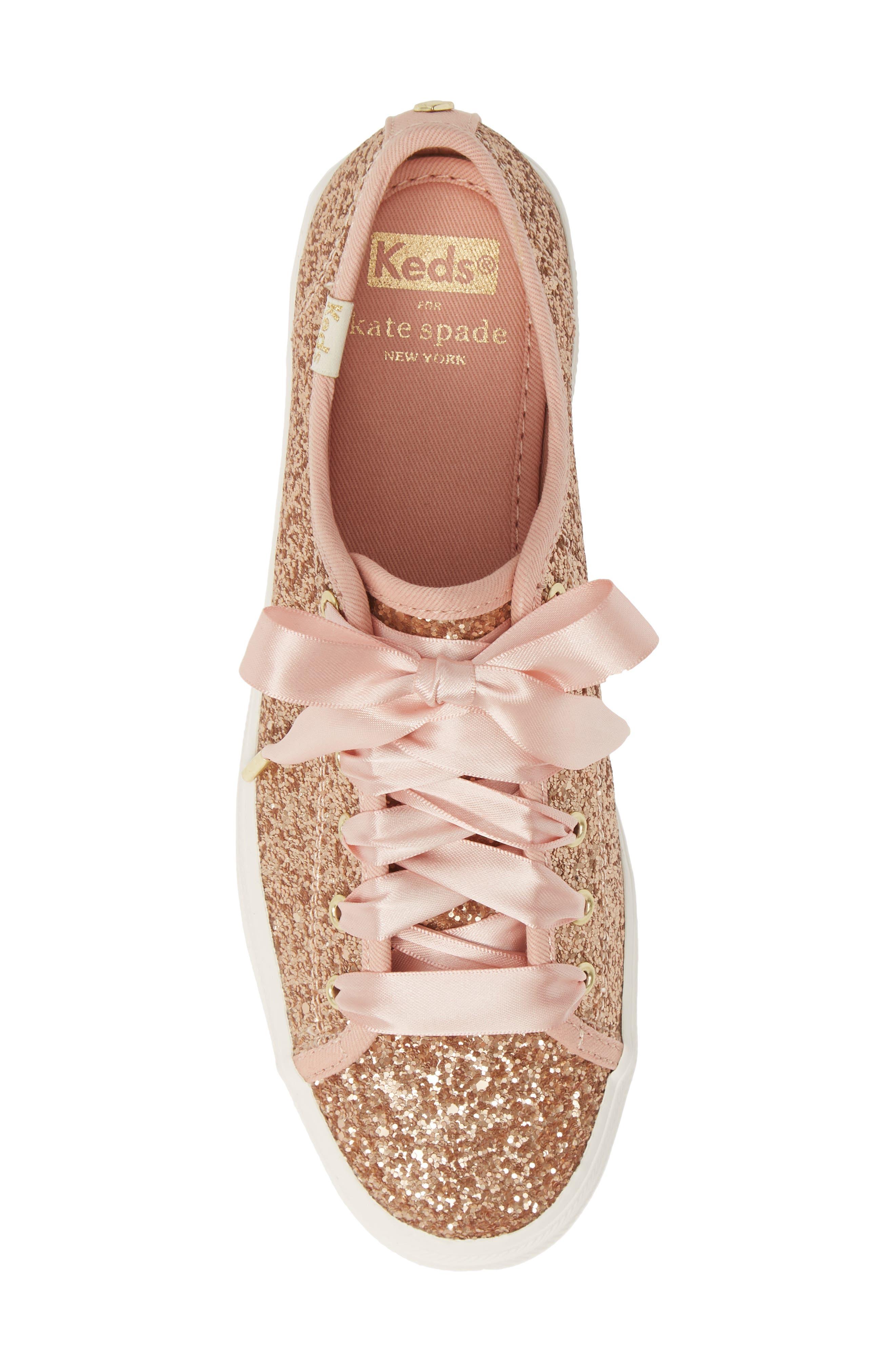 KEDS<SUP>®</SUP> FOR KATE SPADE NEW YORK, Keds<sup>®</sup> x kate spade new york Triple Kick Glitter Sneaker, Alternate thumbnail 5, color, ROSE GOLD