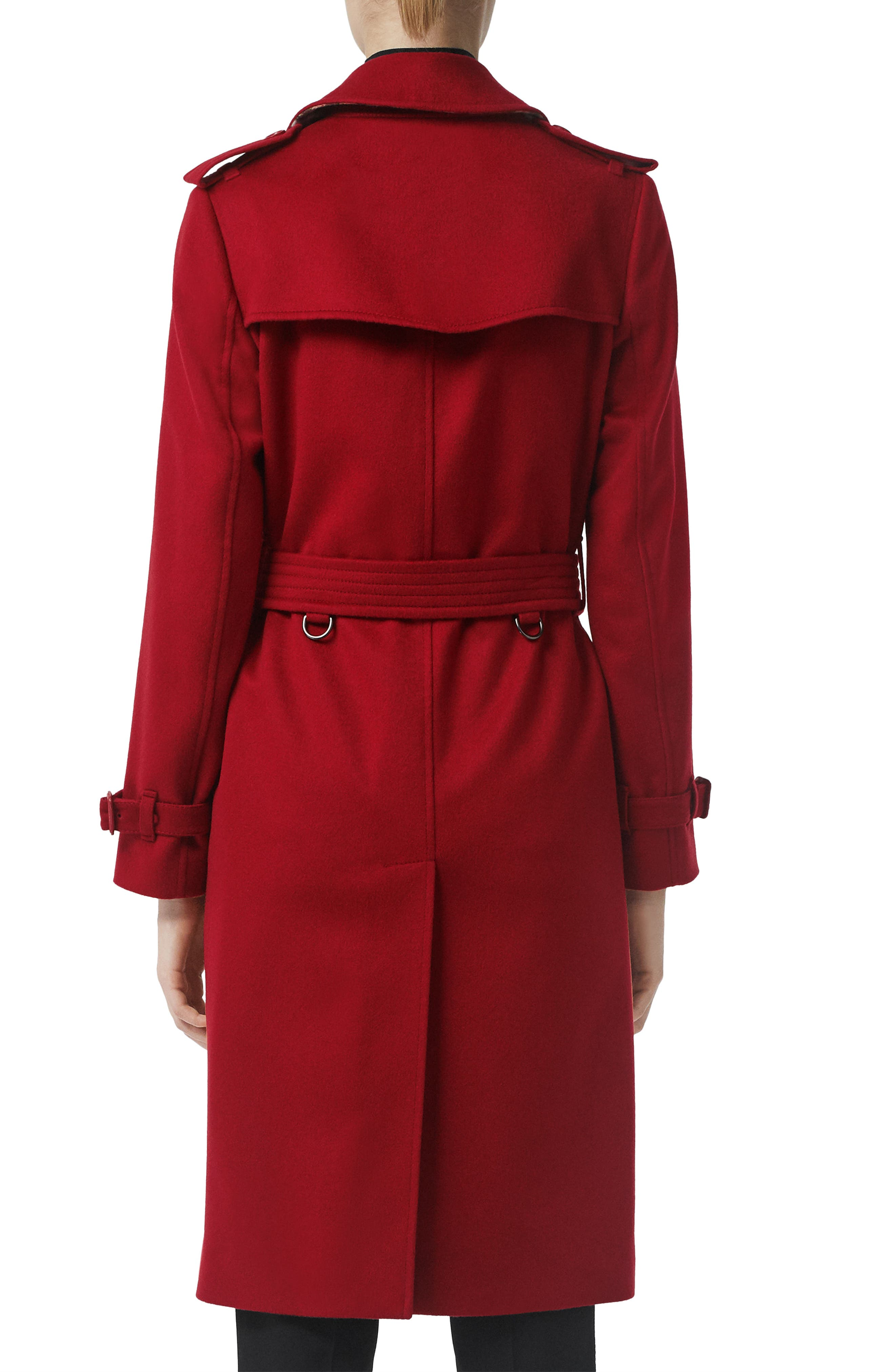BURBERRY, Kensington Cashmere Trench Coat, Alternate thumbnail 2, color, PARADE RED