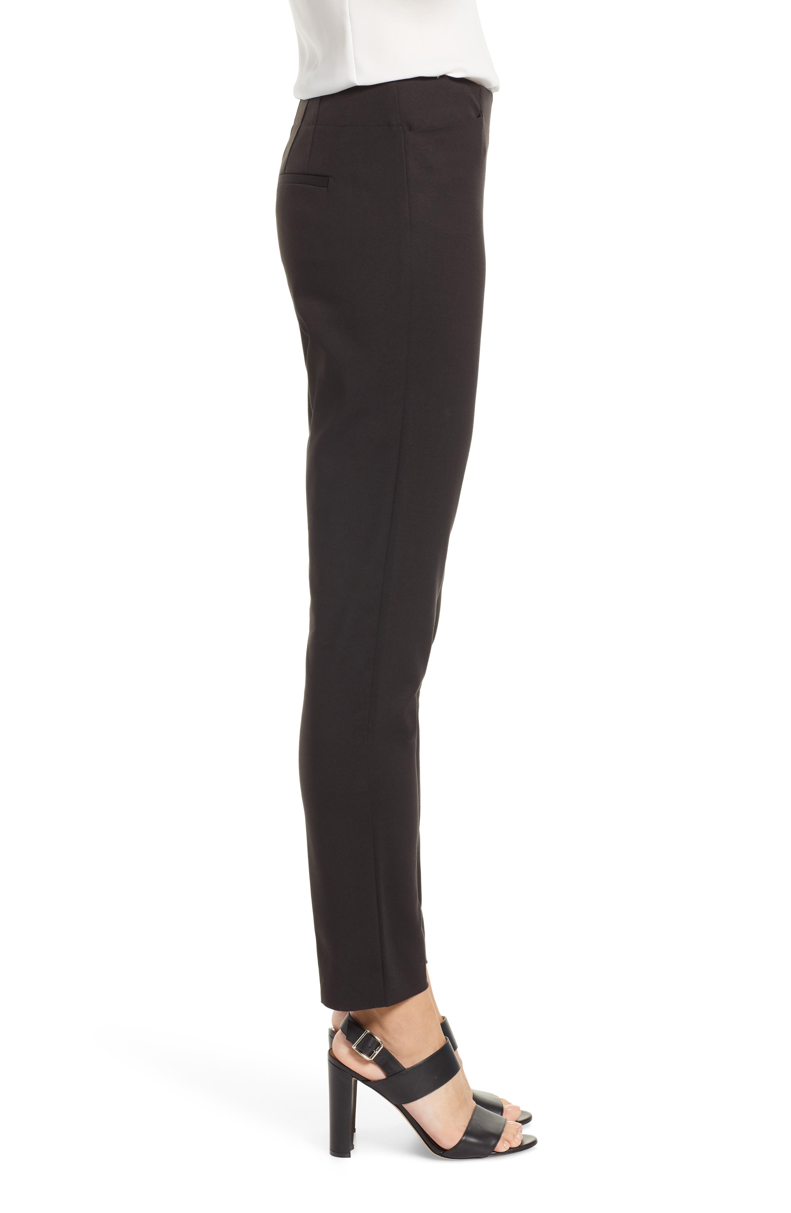 VINCE CAMUTO, Side Zip Stretch Cotton Blend Pants, Alternate thumbnail 4, color, RICH BLACK