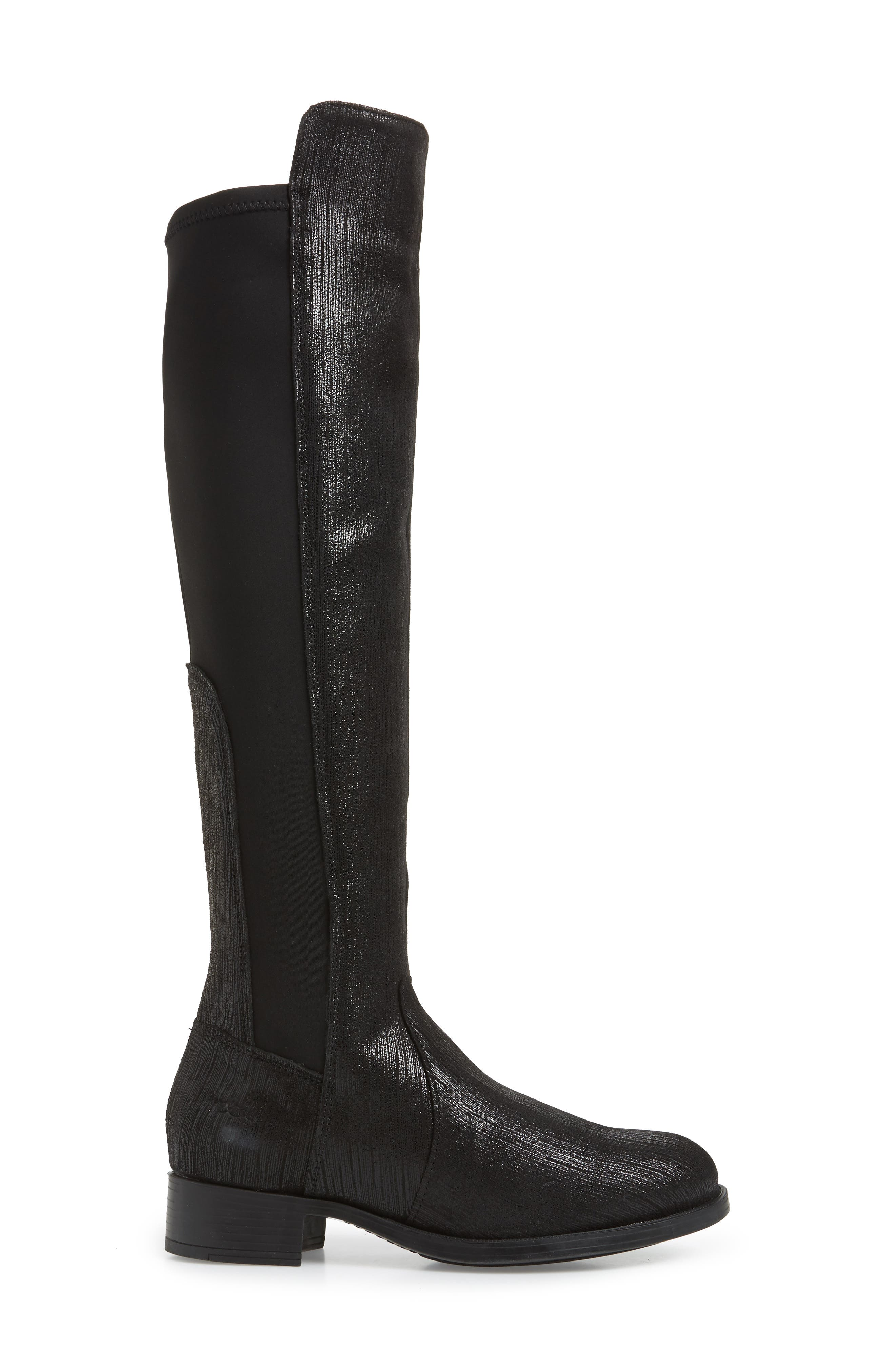 BOS. & CO., Bunt Waterproof Over the Knee Boot, Alternate thumbnail 3, color, BLACK METAL/ LYCRA