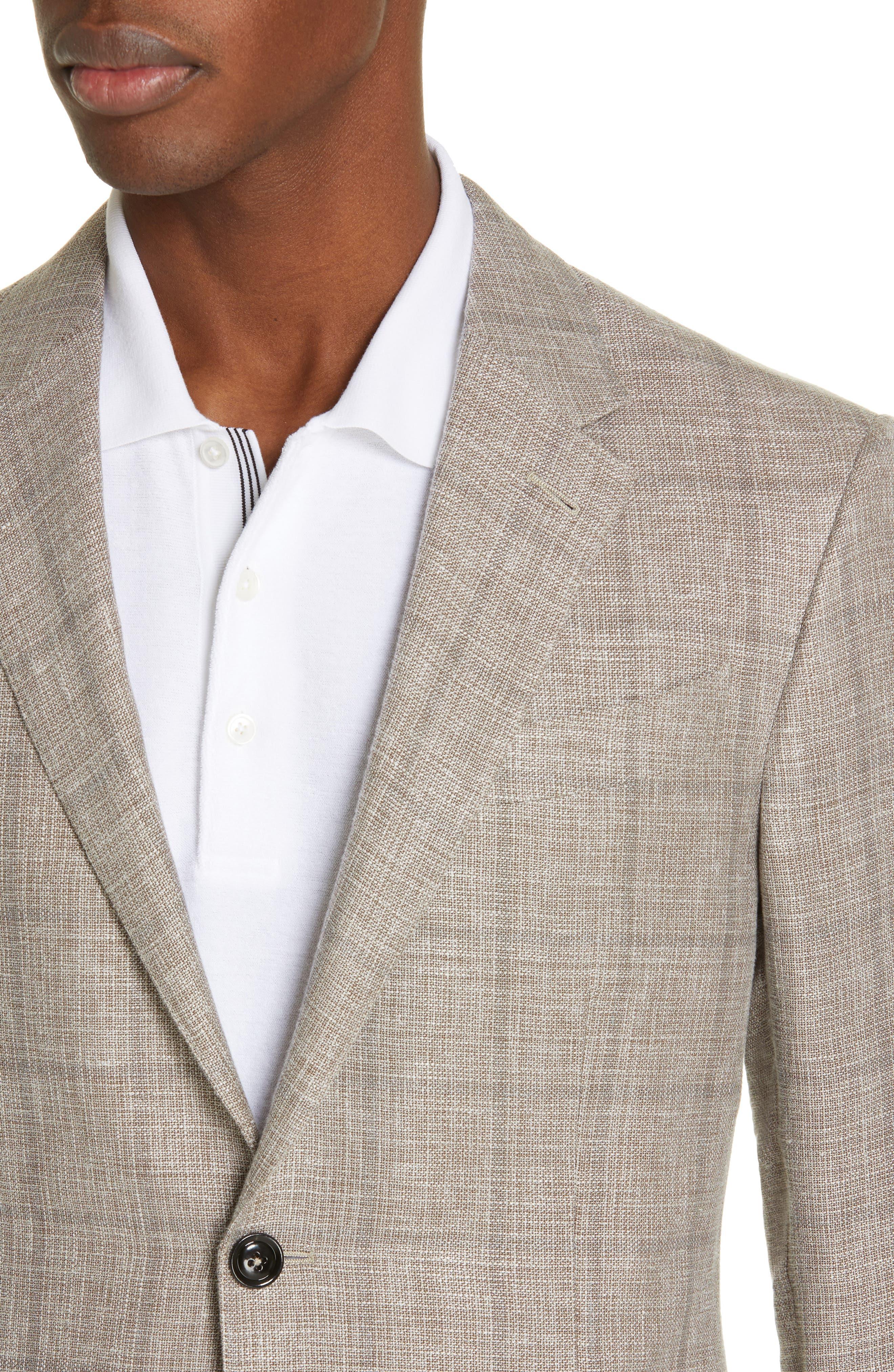ERMENEGILDO ZEGNA, Milano Classic Fit Windowpane Linen Blend Sport Coat, Alternate thumbnail 4, color, TAN