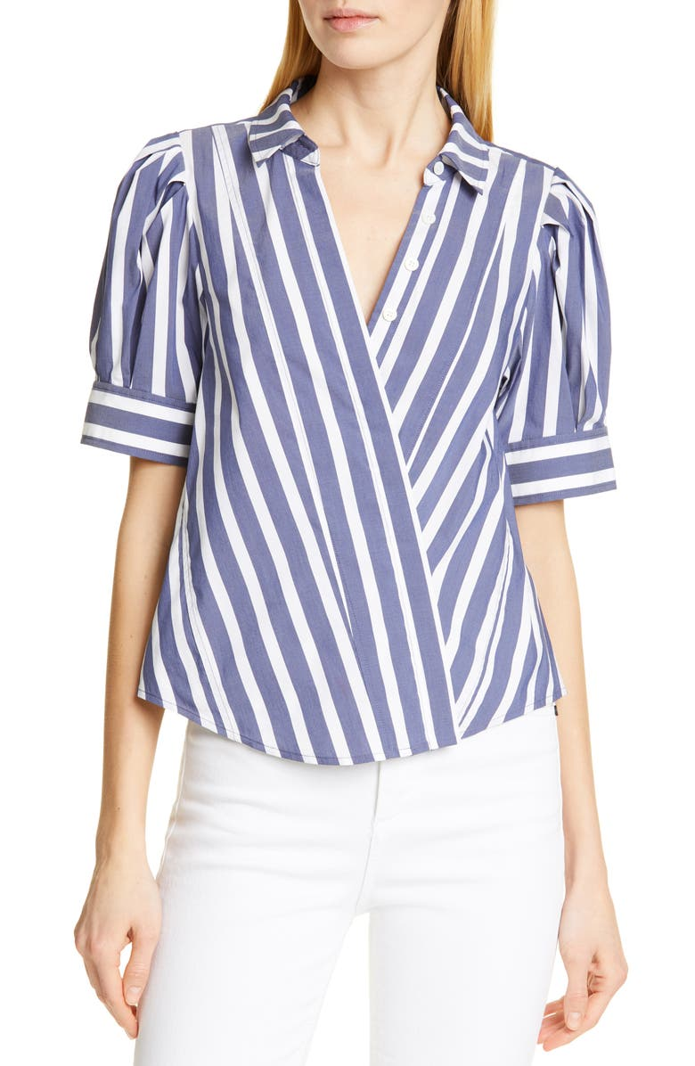 Tanya Taylor Tops ANGELA STRIPE STRETCH COTTON BLEND BLOUSE