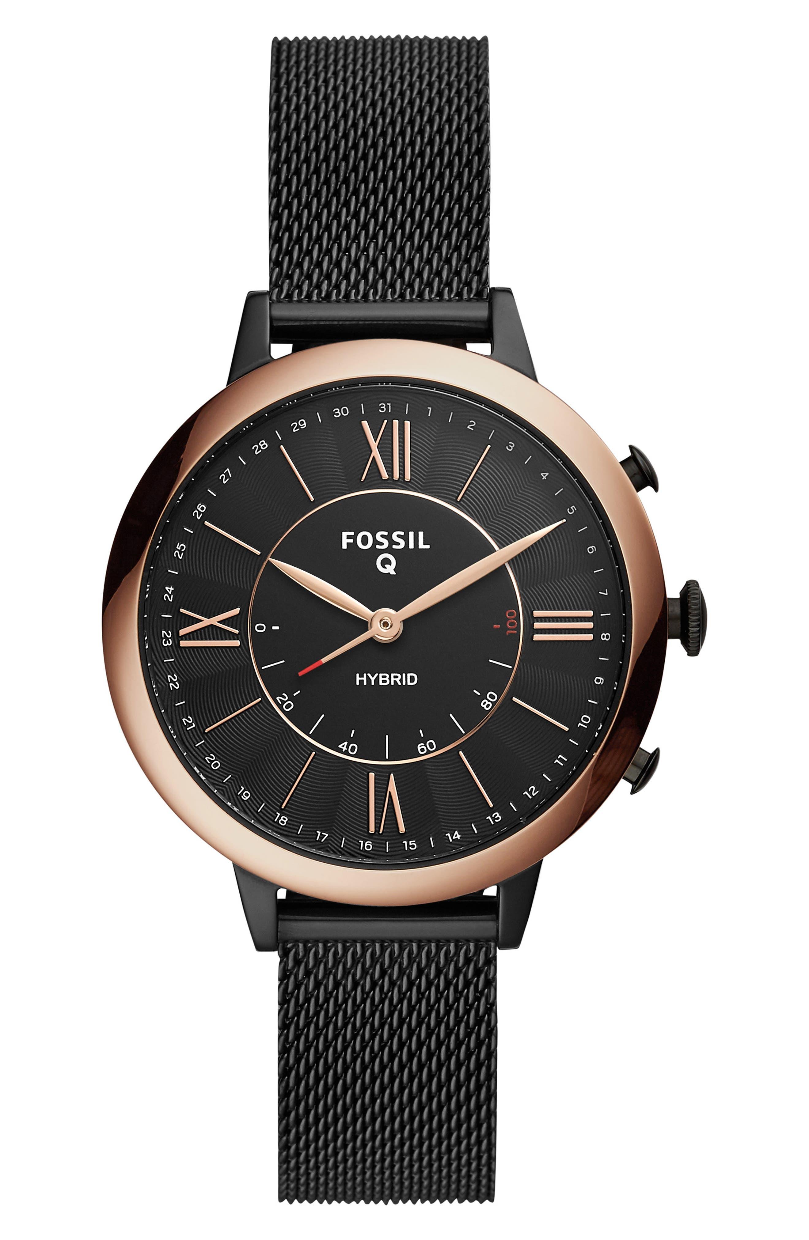 FOSSIL Q, Jacqueline Mesh Strap Hybrid Smart Watch, 36mm, Main thumbnail 1, color, BLACK/ ROSE GOLD