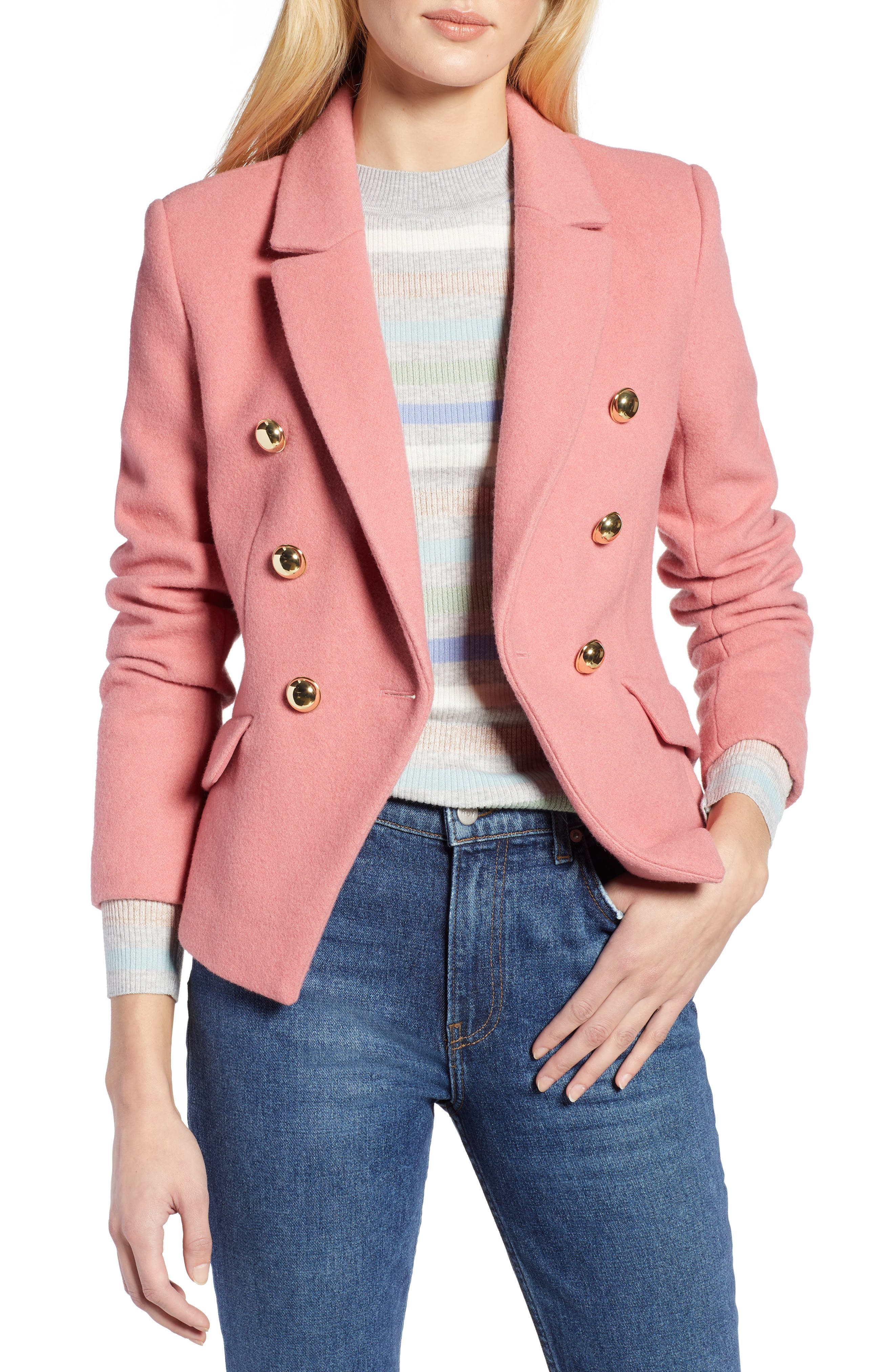 HALOGEN<SUP>®</SUP>, x Atlantic-Pacific Double Breasted Wool Blend Blazer, Main thumbnail 1, color, 660