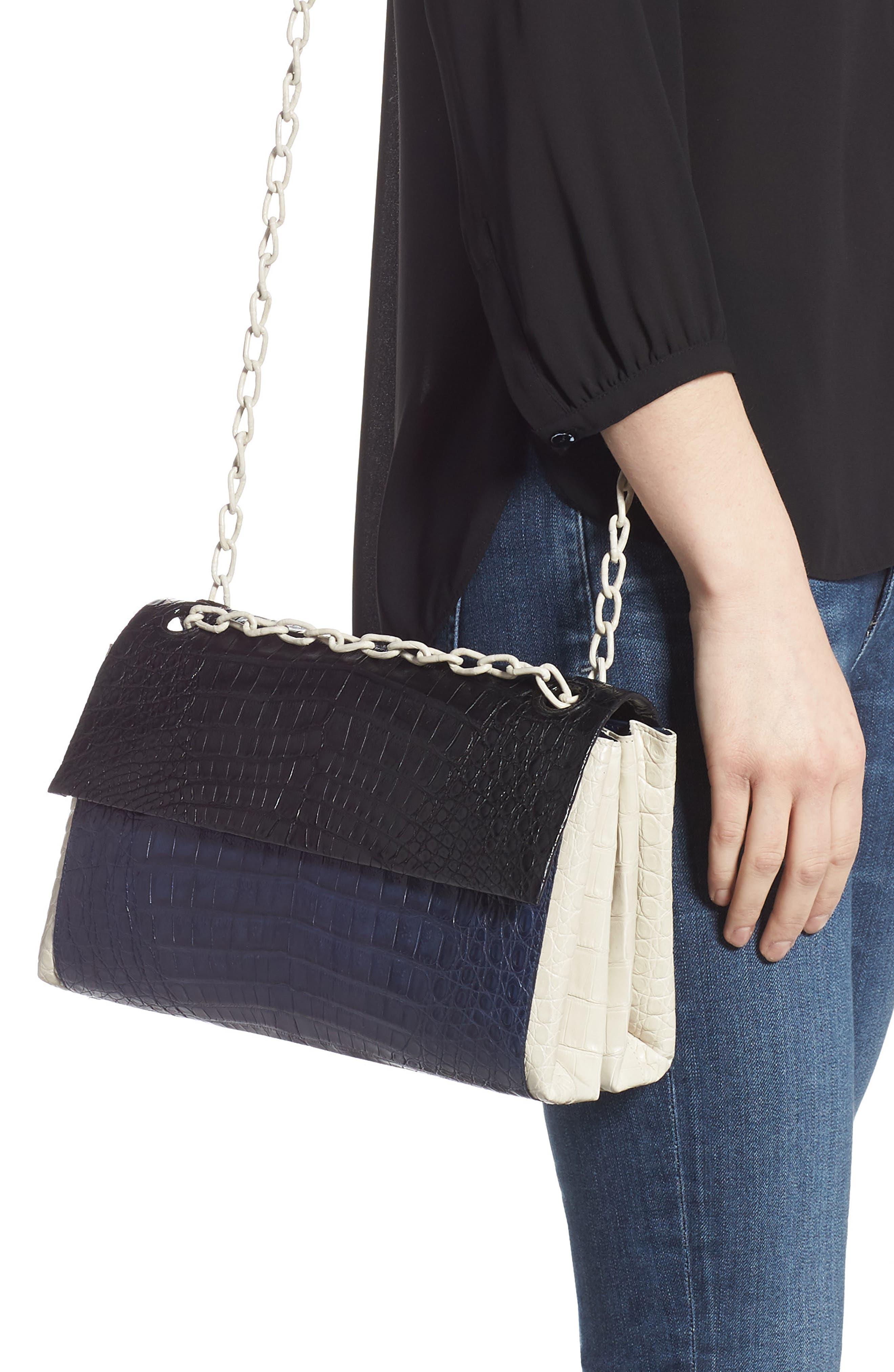 NANCY GONZALEZ, Medium Madison Genuine Crocodile Shoulder Bag, Alternate thumbnail 3, color, BLACK / NAVY/ LIGHT GREY