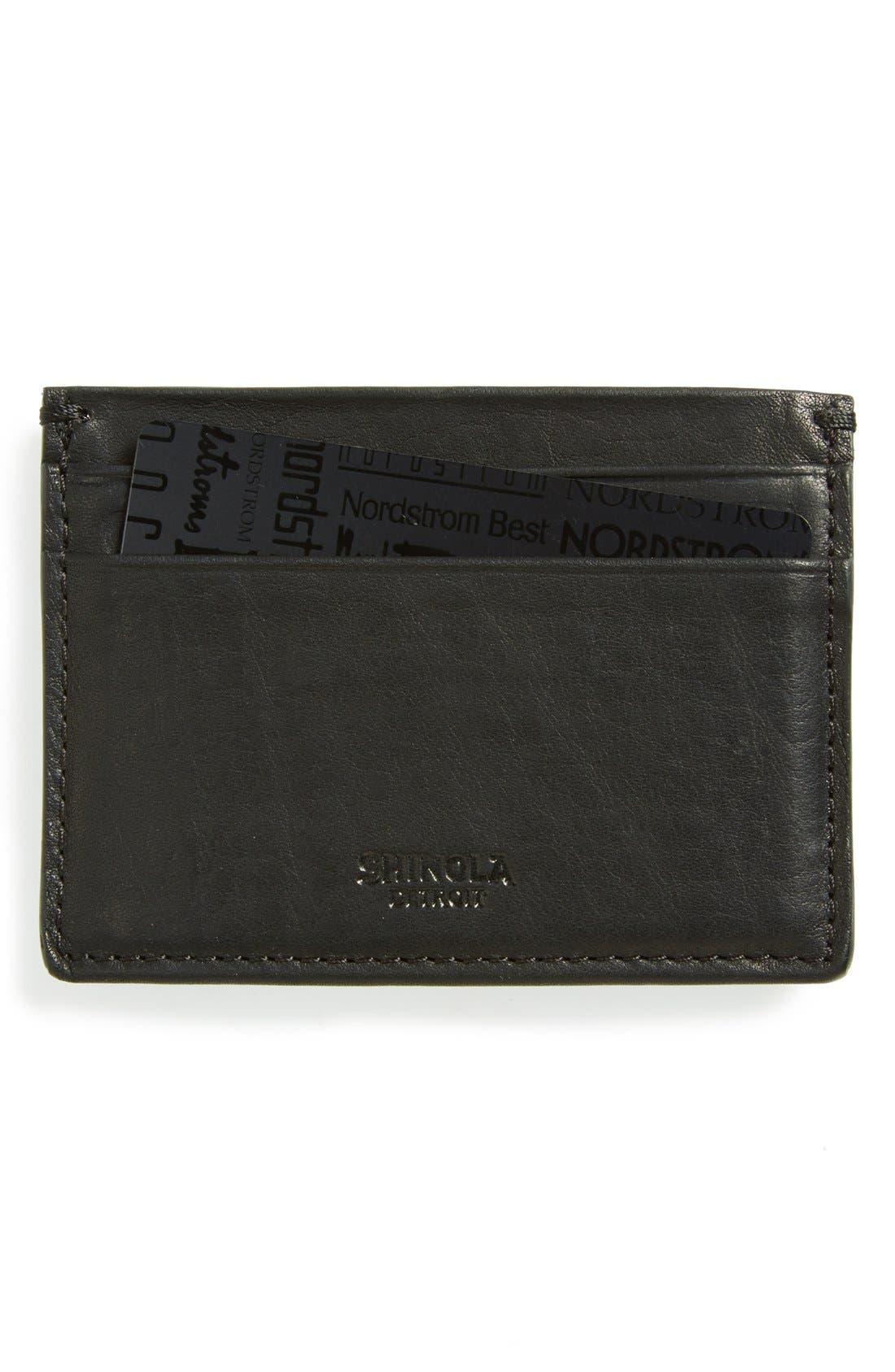 SHINOLA, Leather Card Case, Main thumbnail 1, color, BLACK