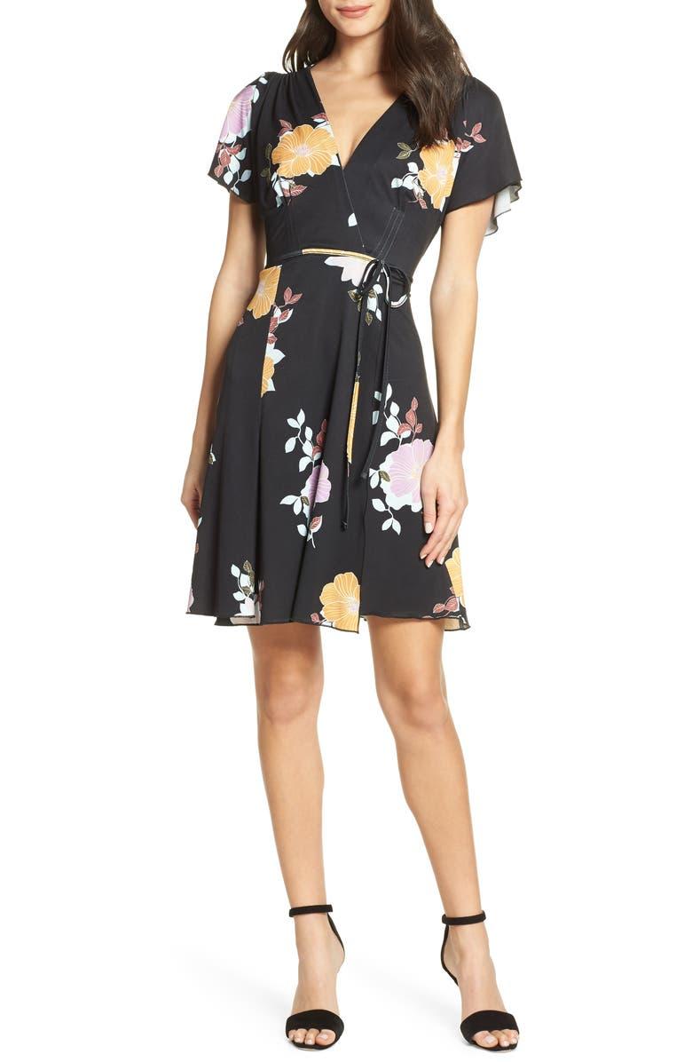 French Connection Dresses SHIKOKU FLORAL FAUX WRAP DRESS