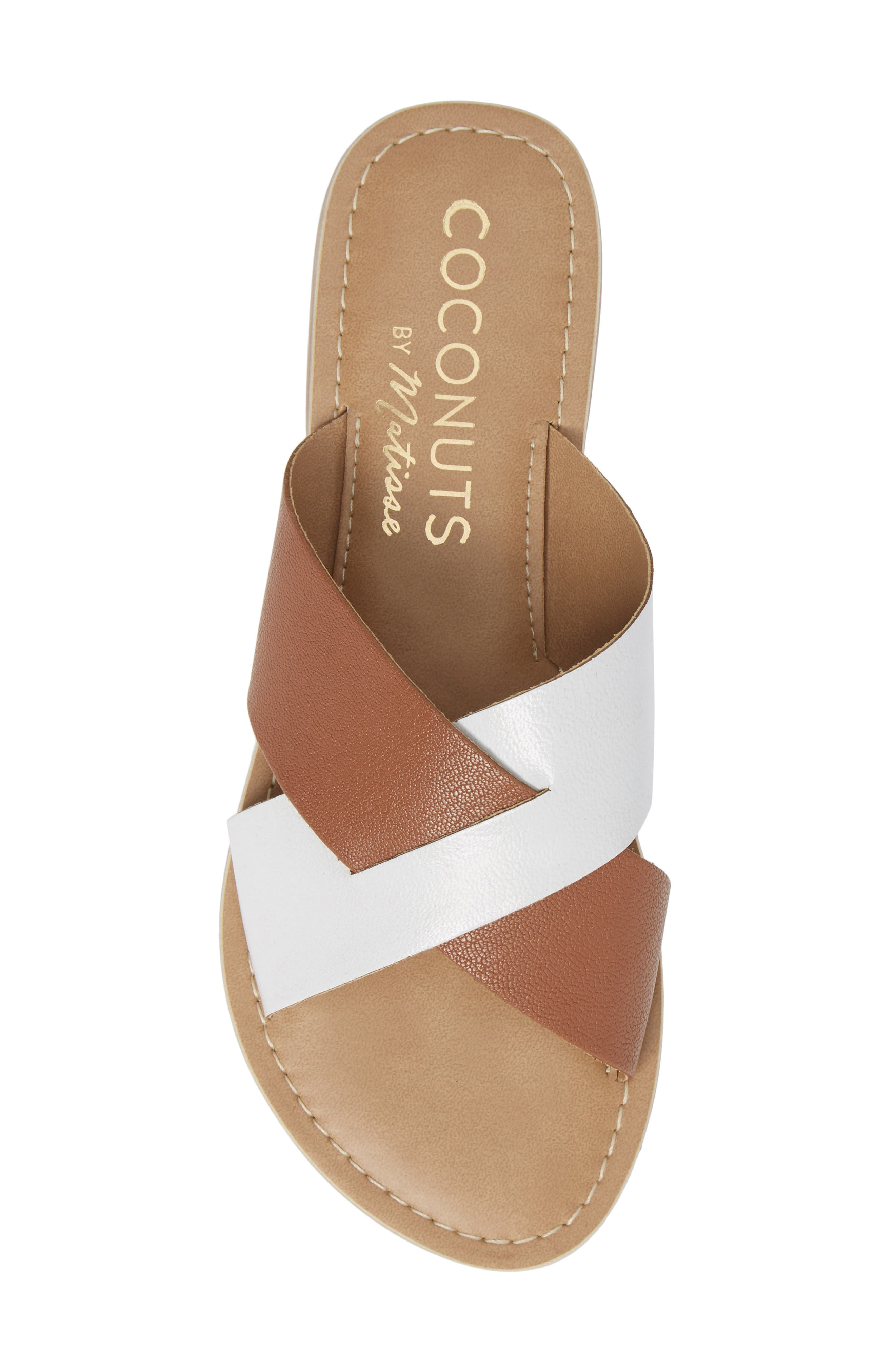 COCONUTS BY MATISSE, Wilma Slide Sandal, Alternate thumbnail 5, color, TAN/ WHITE LEATHER