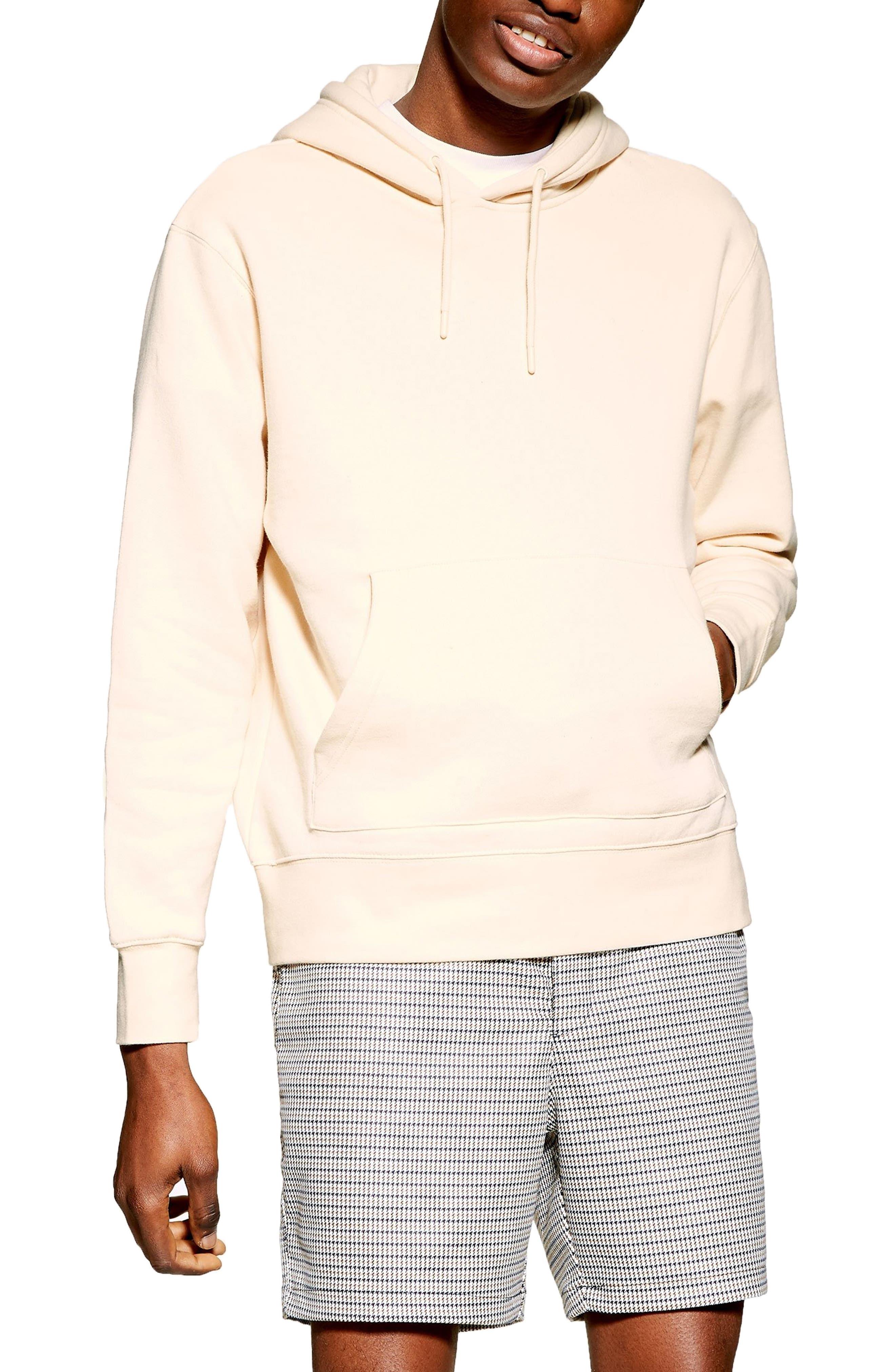 TOPMAN, Tristan Hooded Sweatshirt, Main thumbnail 1, color, STONE