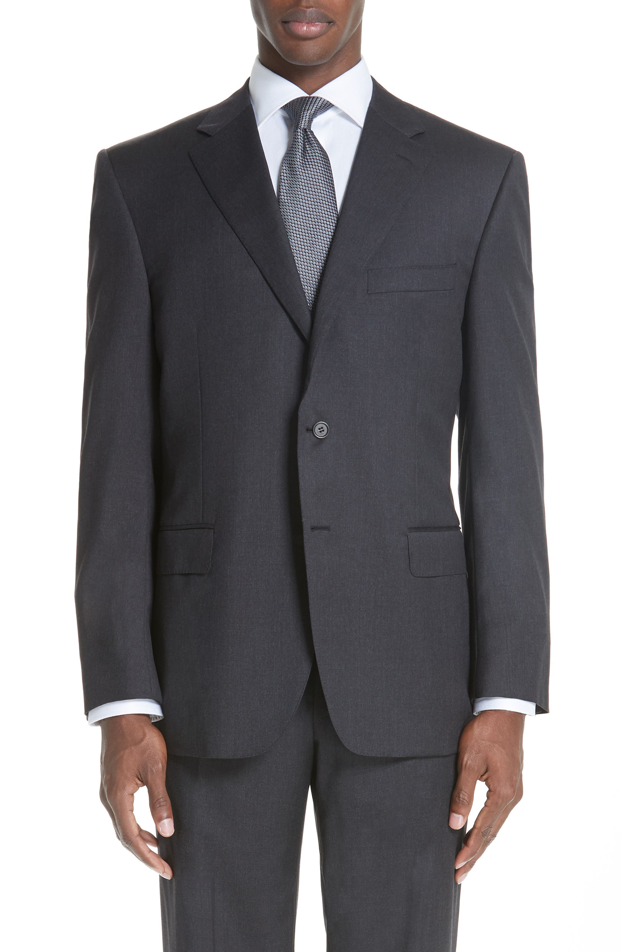 CANALI, Classic Fit Wool Suit, Alternate thumbnail 5, color, CHARCOAL