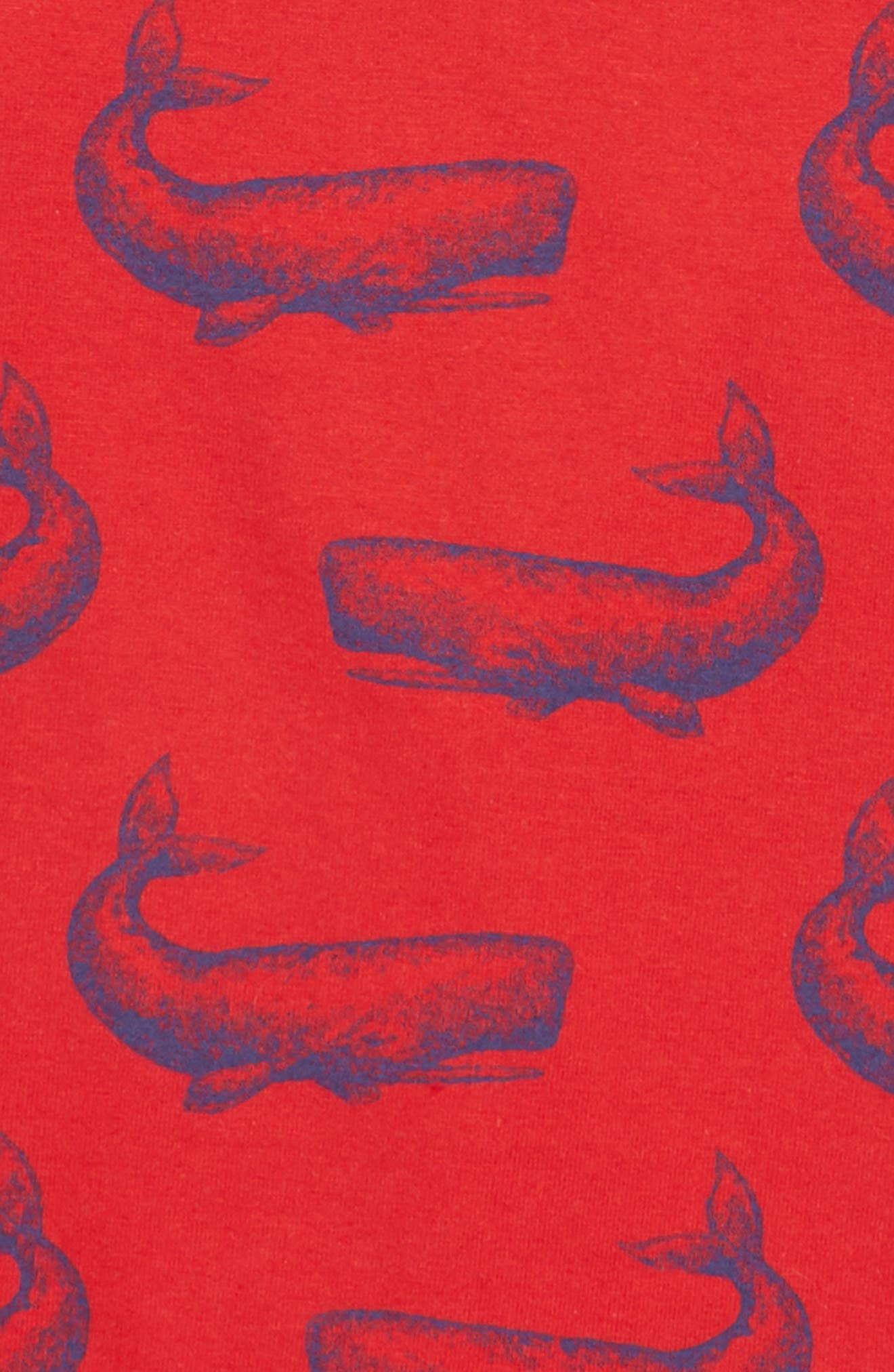 HATLEY, Whale Print T-Shirt, Alternate thumbnail 2, color, RED