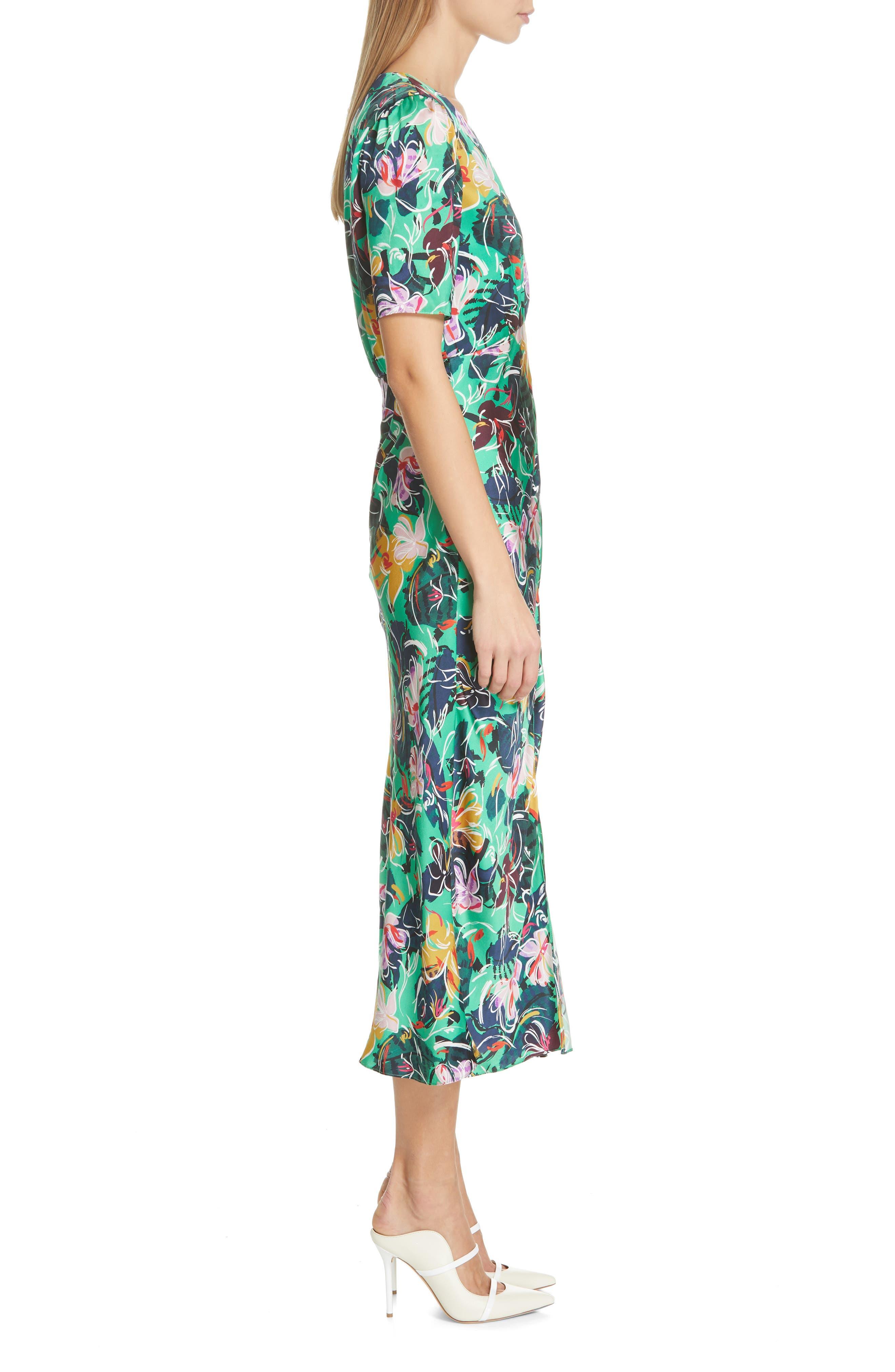 SALONI, Eden Floral Print Silk Midi Dress, Alternate thumbnail 3, color, EMERALD KINGCUP