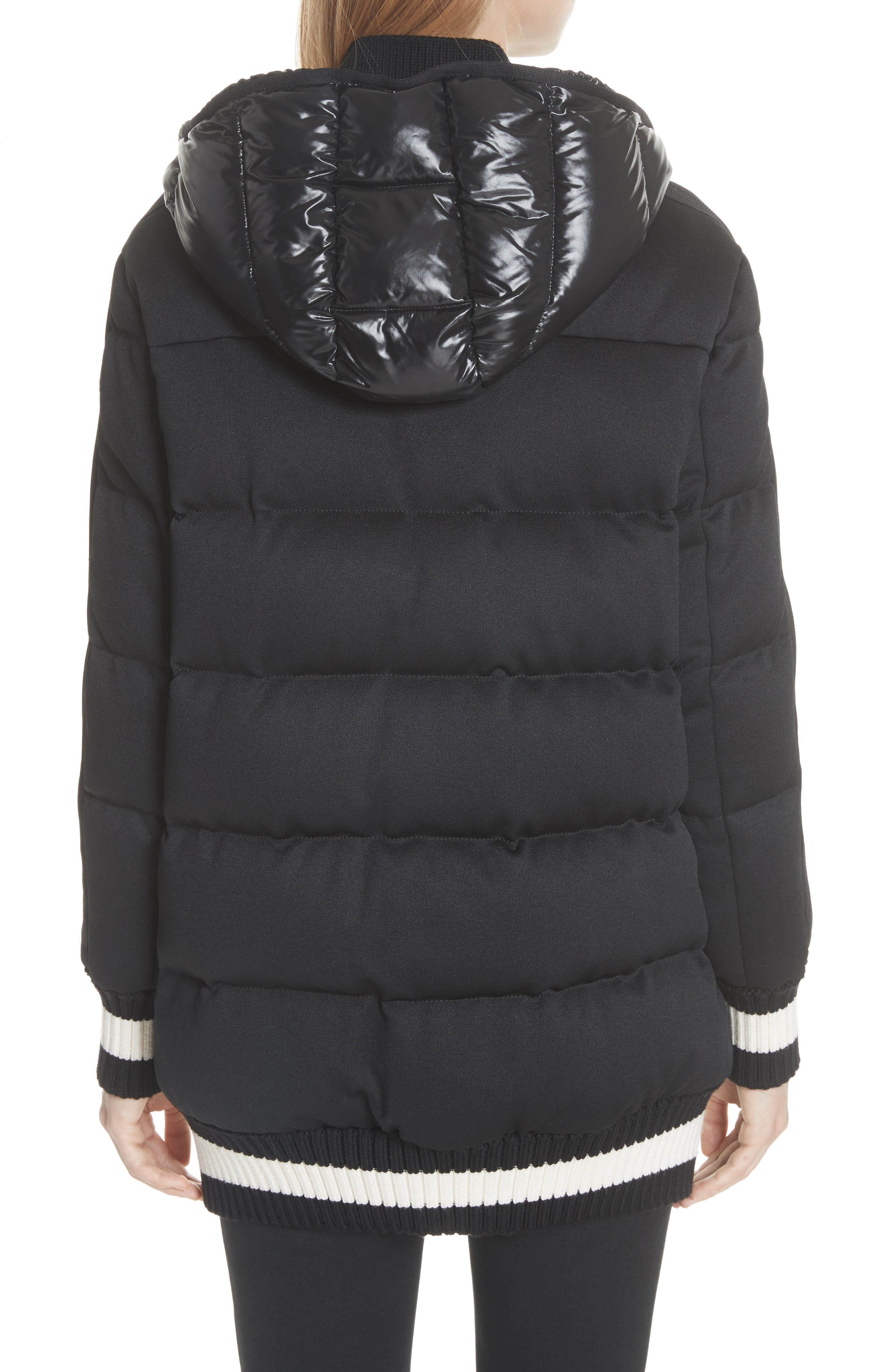 MONCLER, Harfang Quilted Down Bomber Coat, Alternate thumbnail 3, color, BLACK