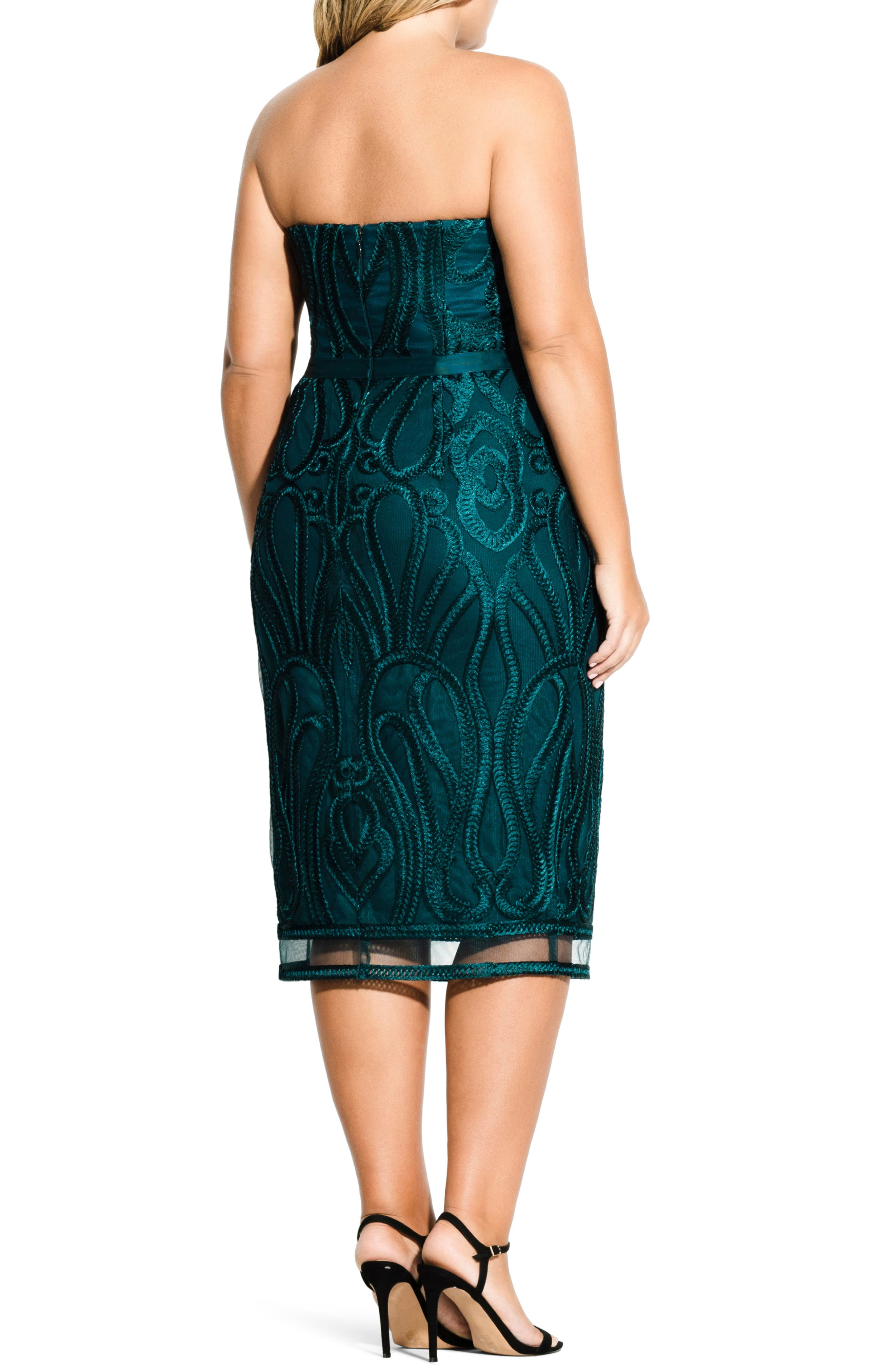 CITY CHIC, Antonia Strapless Sheath Dress, Alternate thumbnail 2, color, EMERALD