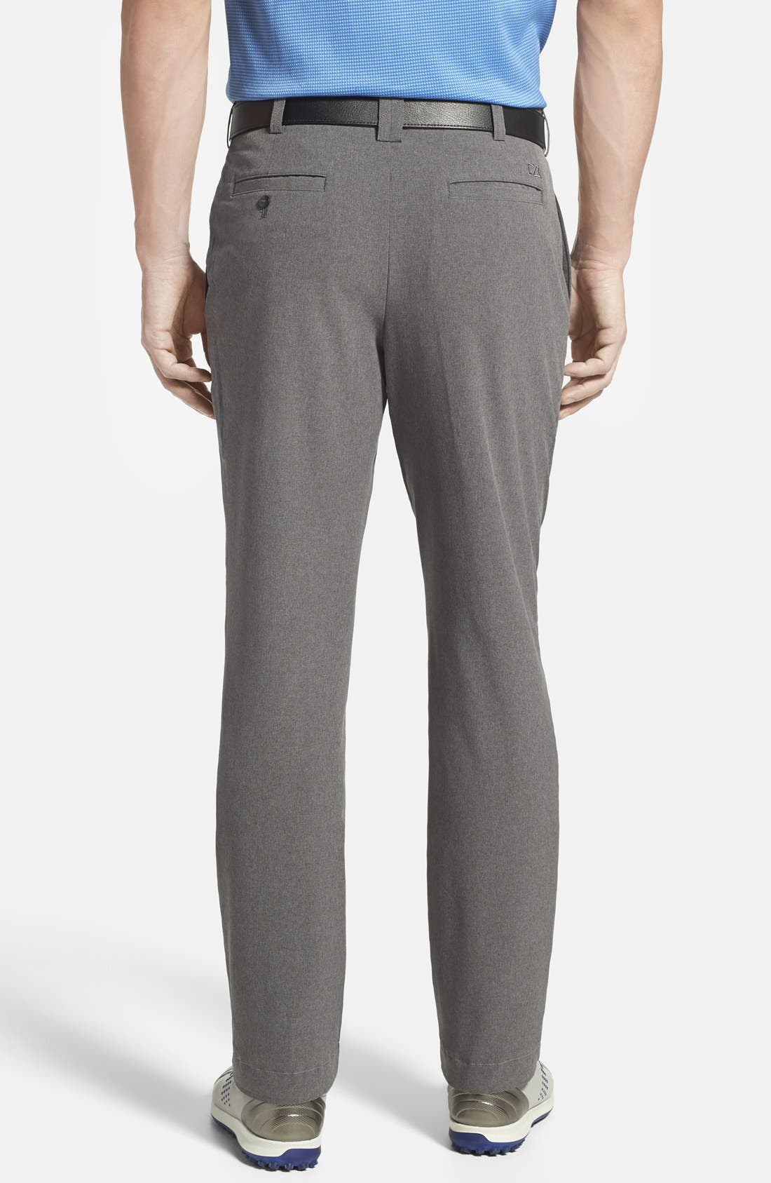 CUTTER & BUCK, 'Bainbridge' DryTec Flat Front Pants, Alternate thumbnail 2, color, IRON GREY